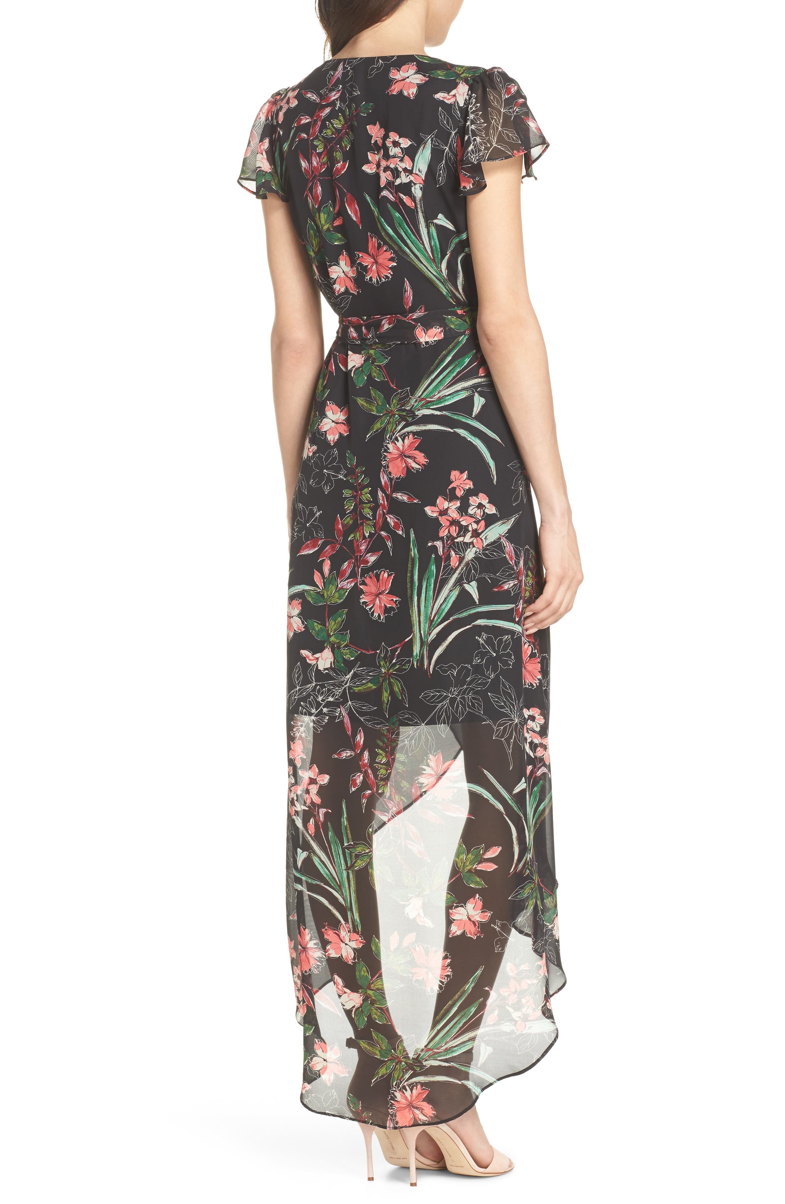 Chiffon Faux Wrap Dress,                             Alternate thumbnail 2, color,                             Black Multi