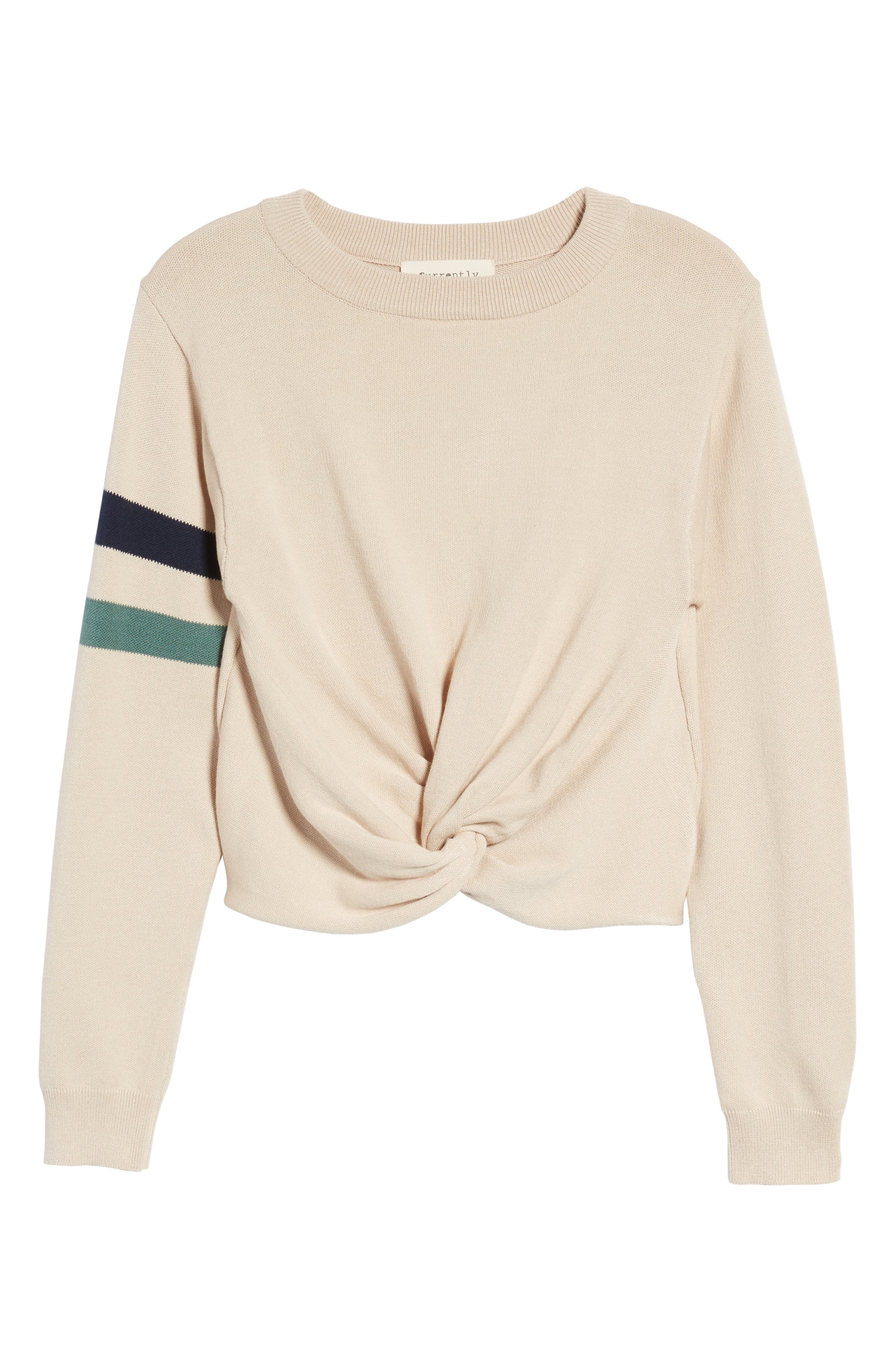 Twist Front Stripe Sleeve Sweatshirt,                             Alternate thumbnail 7, color,                             Ivory