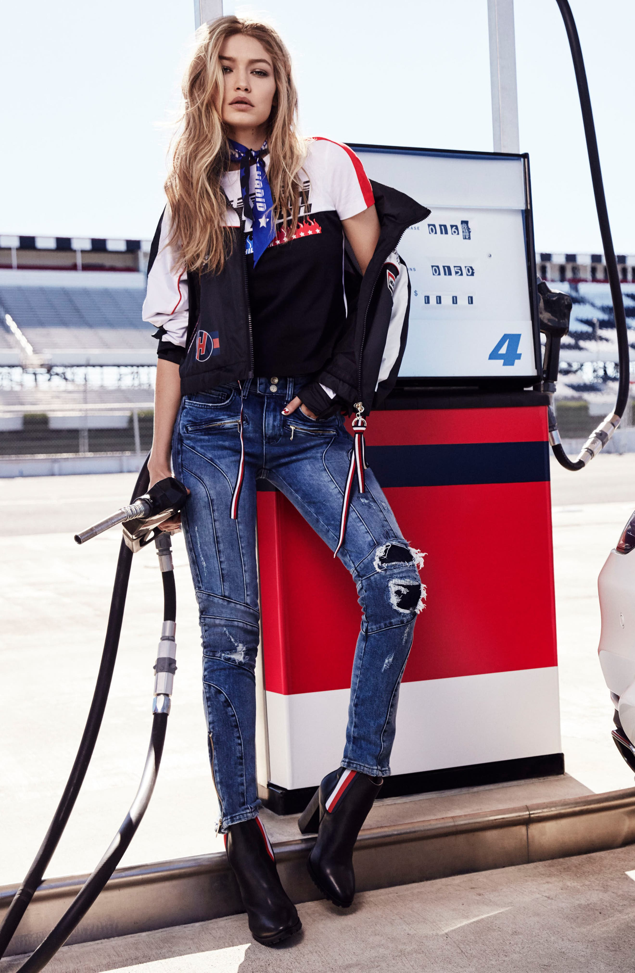 x Gigi Hadid Speed Distressed Ankle Zip Jeans,                             Alternate thumbnail 2, color,                             Mid Blue