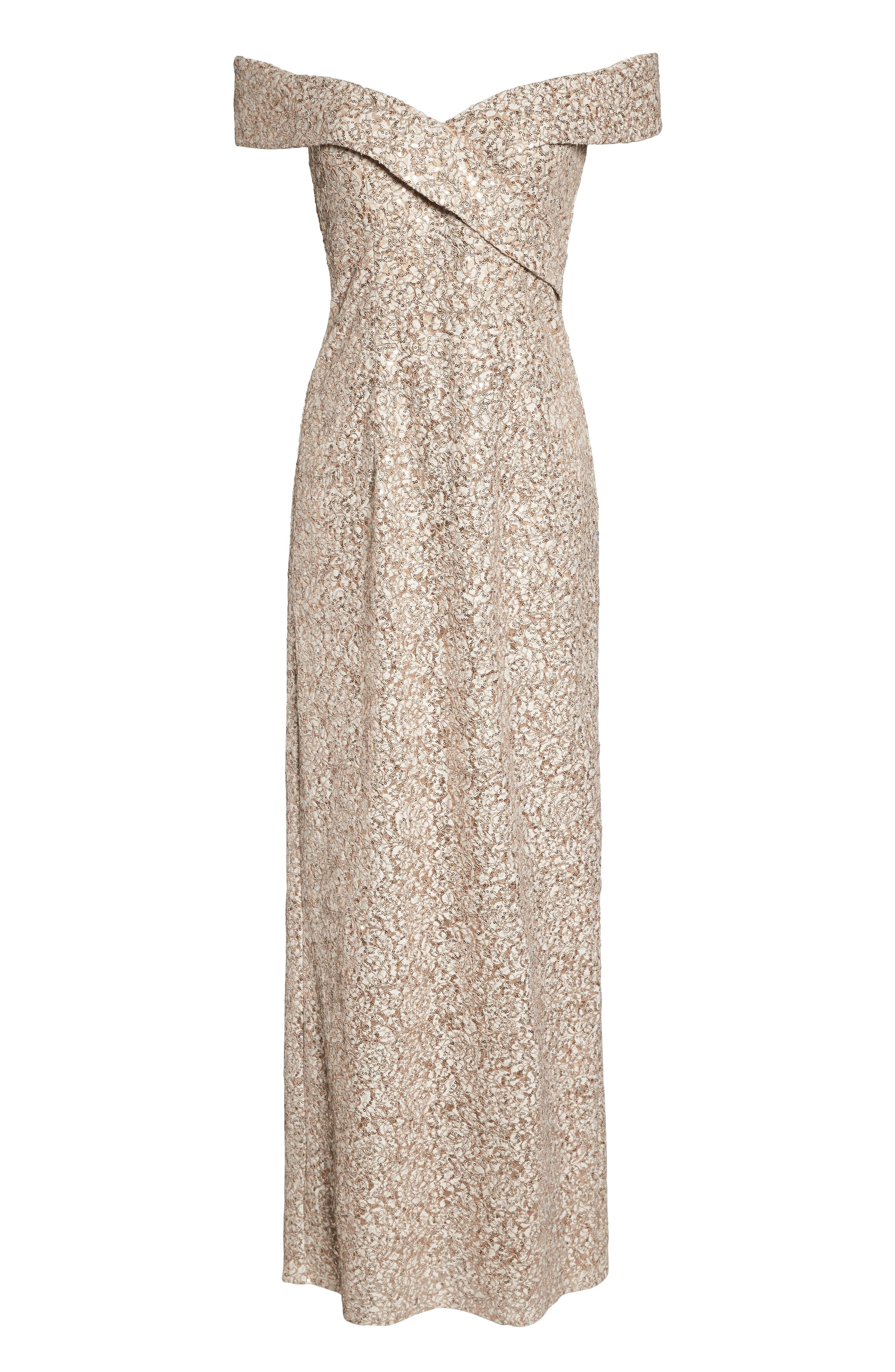 Off the Shoulder Sequin & Lace Gown,                             Alternate thumbnail 7, color,                             Taupe