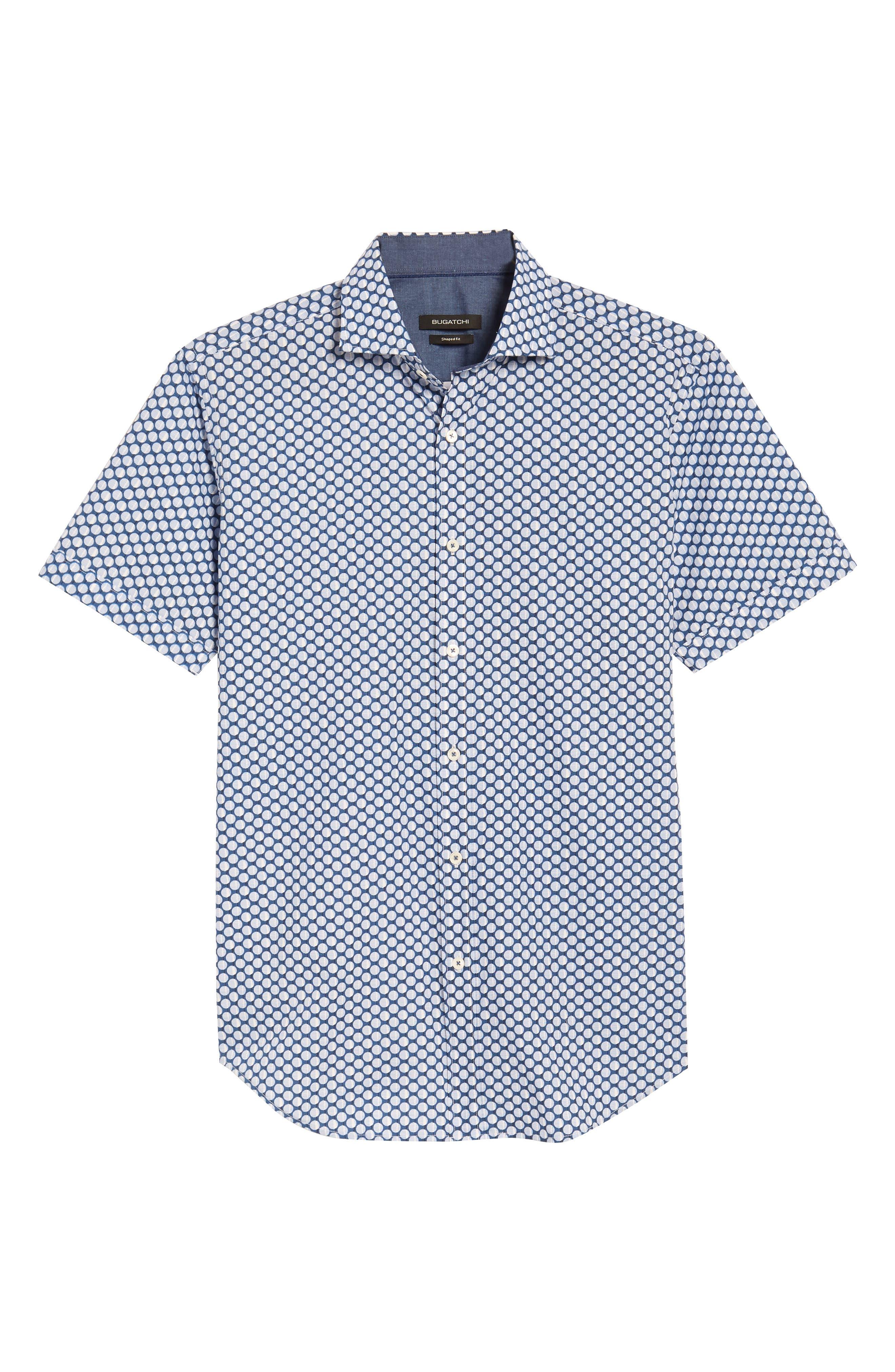 Shaped Fit Polka Dot Sport Shirt,                             Alternate thumbnail 6, color,                             Classic Blue