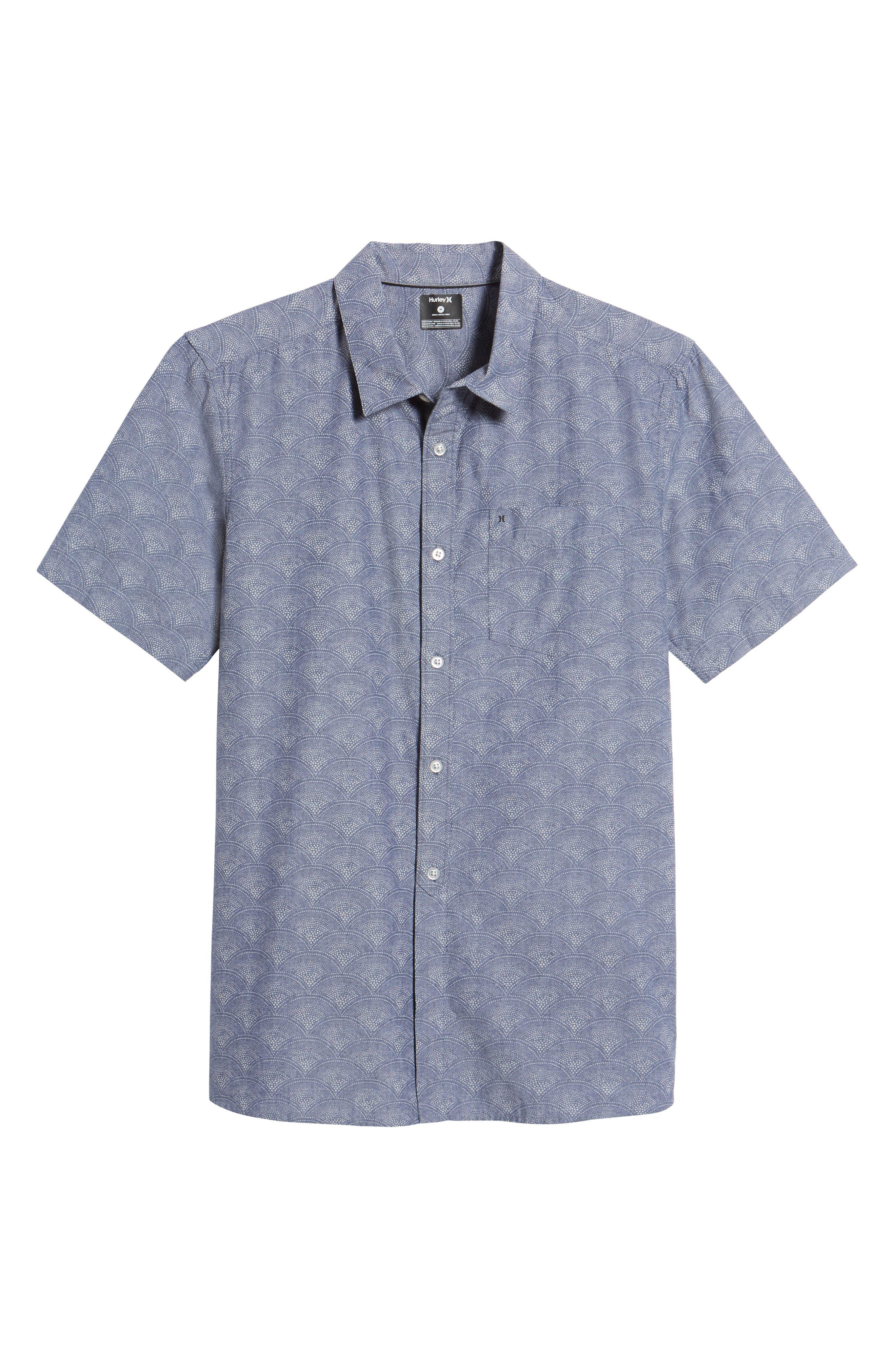 Pescado Short Sleeve Oxford Shirt,                             Alternate thumbnail 6, color,                             Obsidian