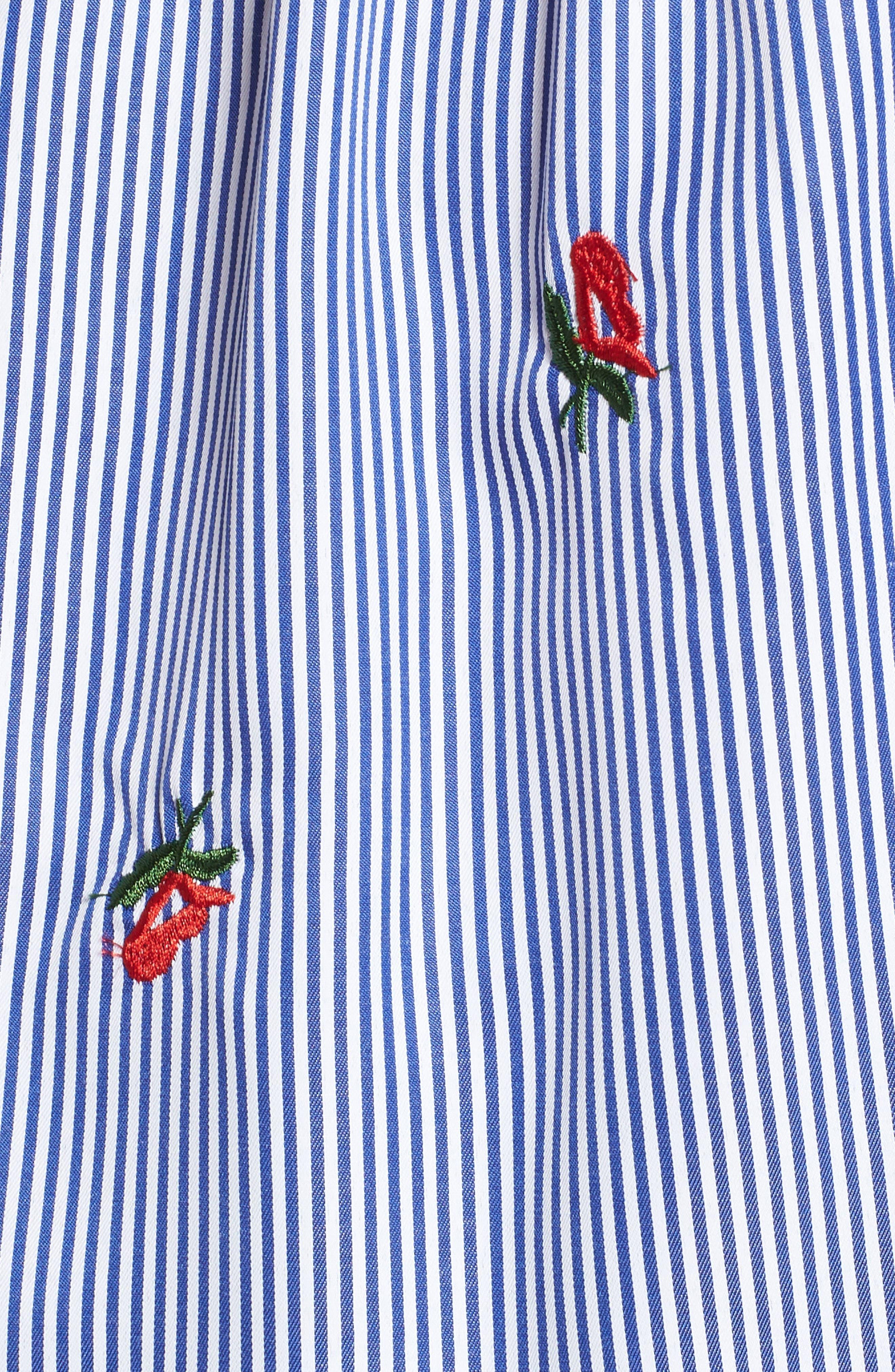 Floral Embroidered Stripe Off the Shoulder Top,                             Alternate thumbnail 6, color,                             Blue Stripe