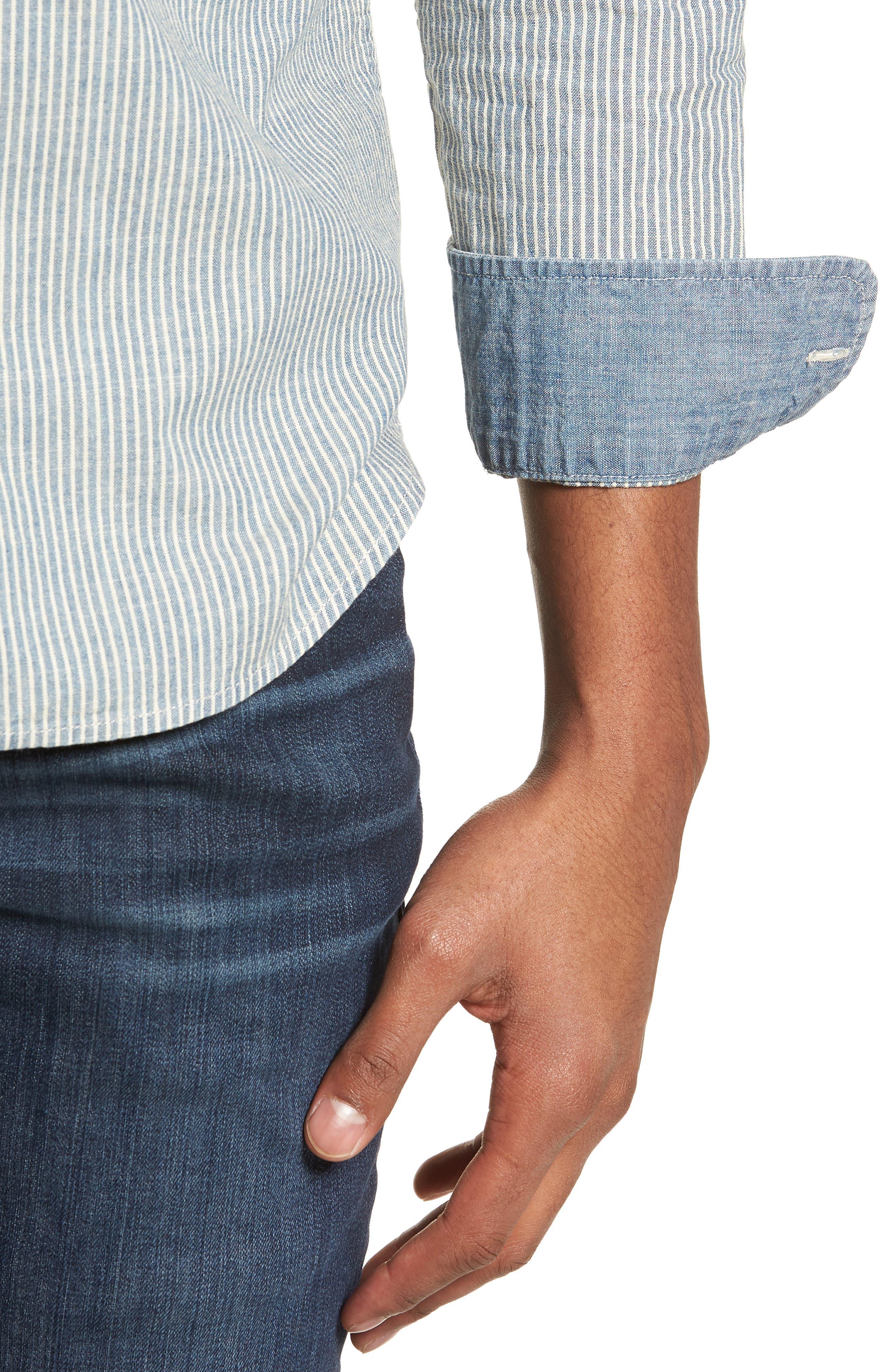 Nelson Slim Fit Stripe Sport Shirt,                             Alternate thumbnail 2, color,                             Indigo/ White Stripe