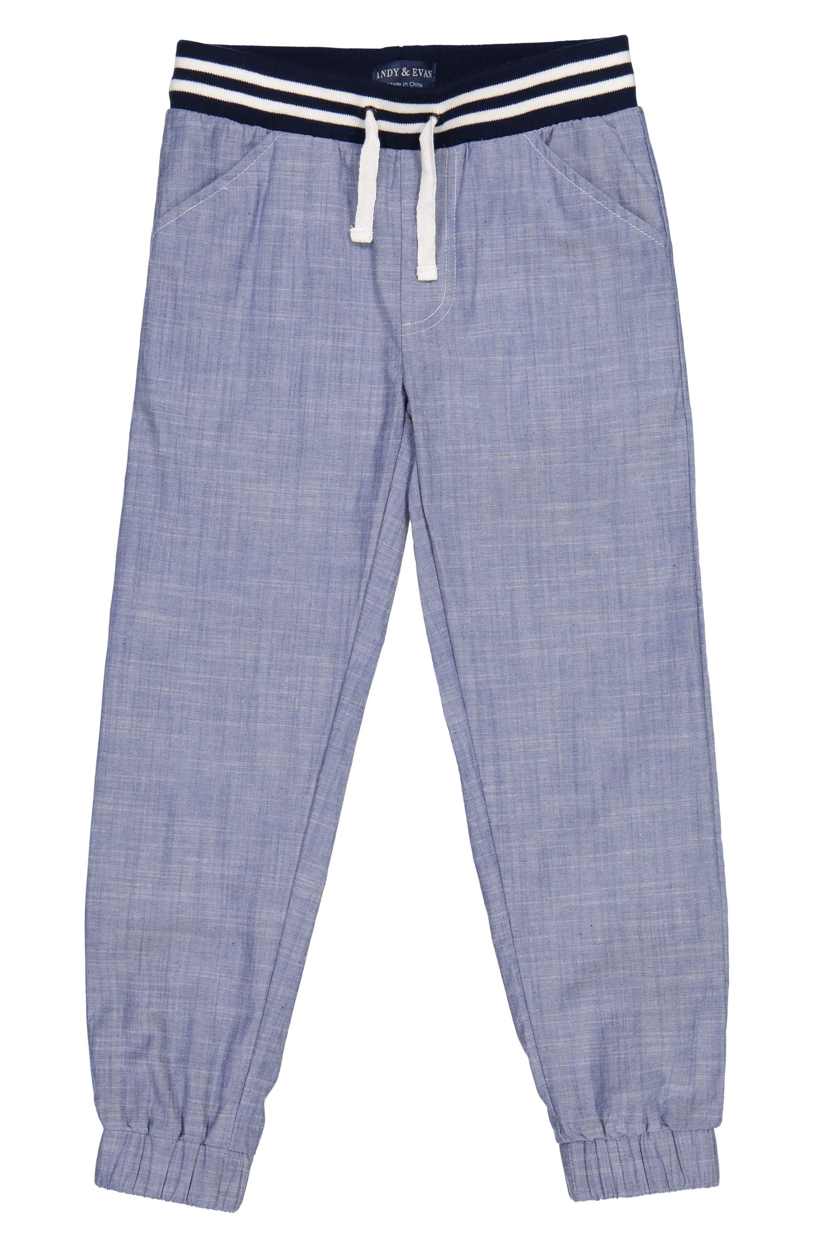 Chambray Jogger Pants,                         Main,                         color, Blue