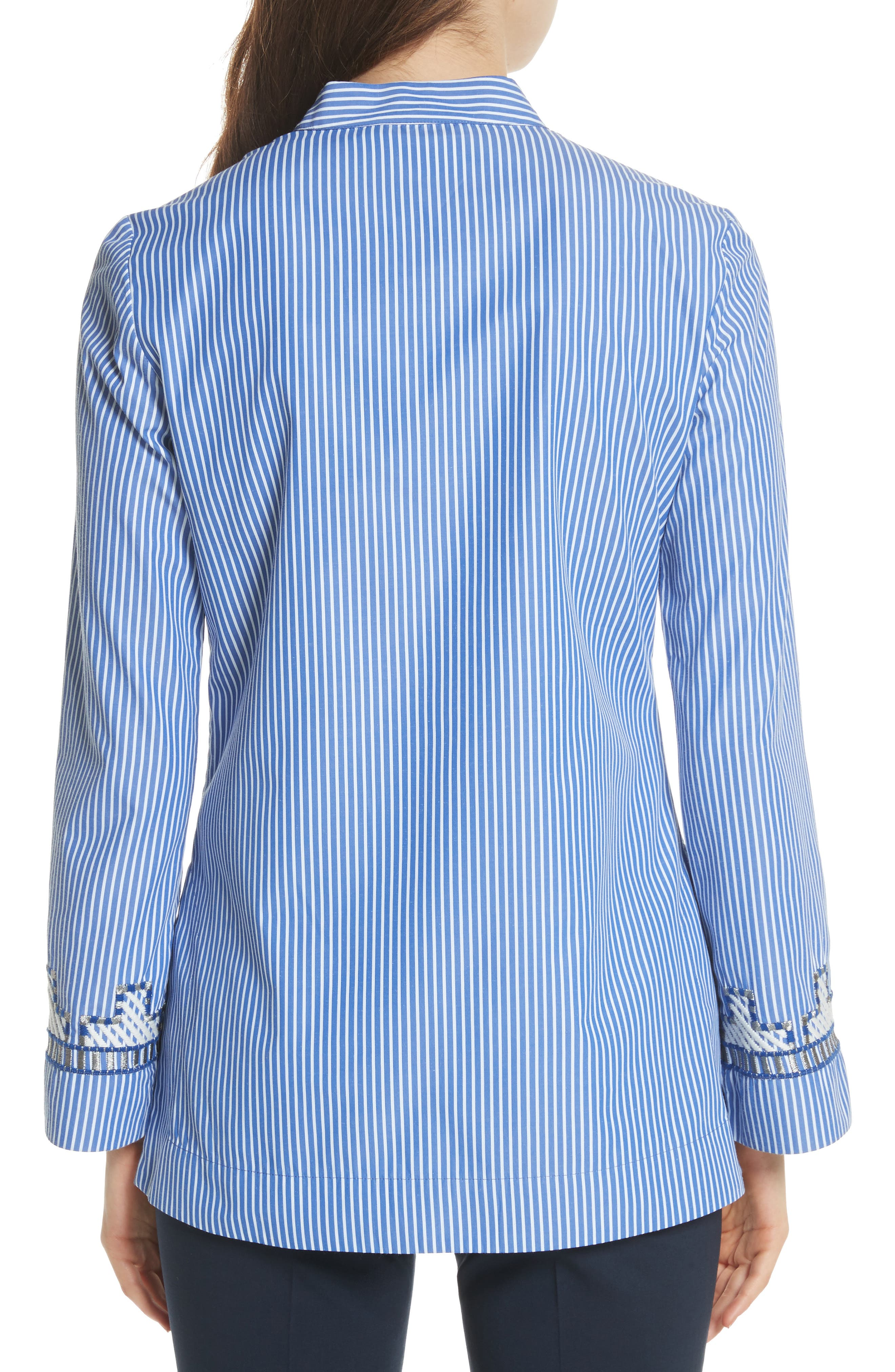 Tory Embroidered Stripe Tunic,                             Alternate thumbnail 2, color,                             Blue/ White