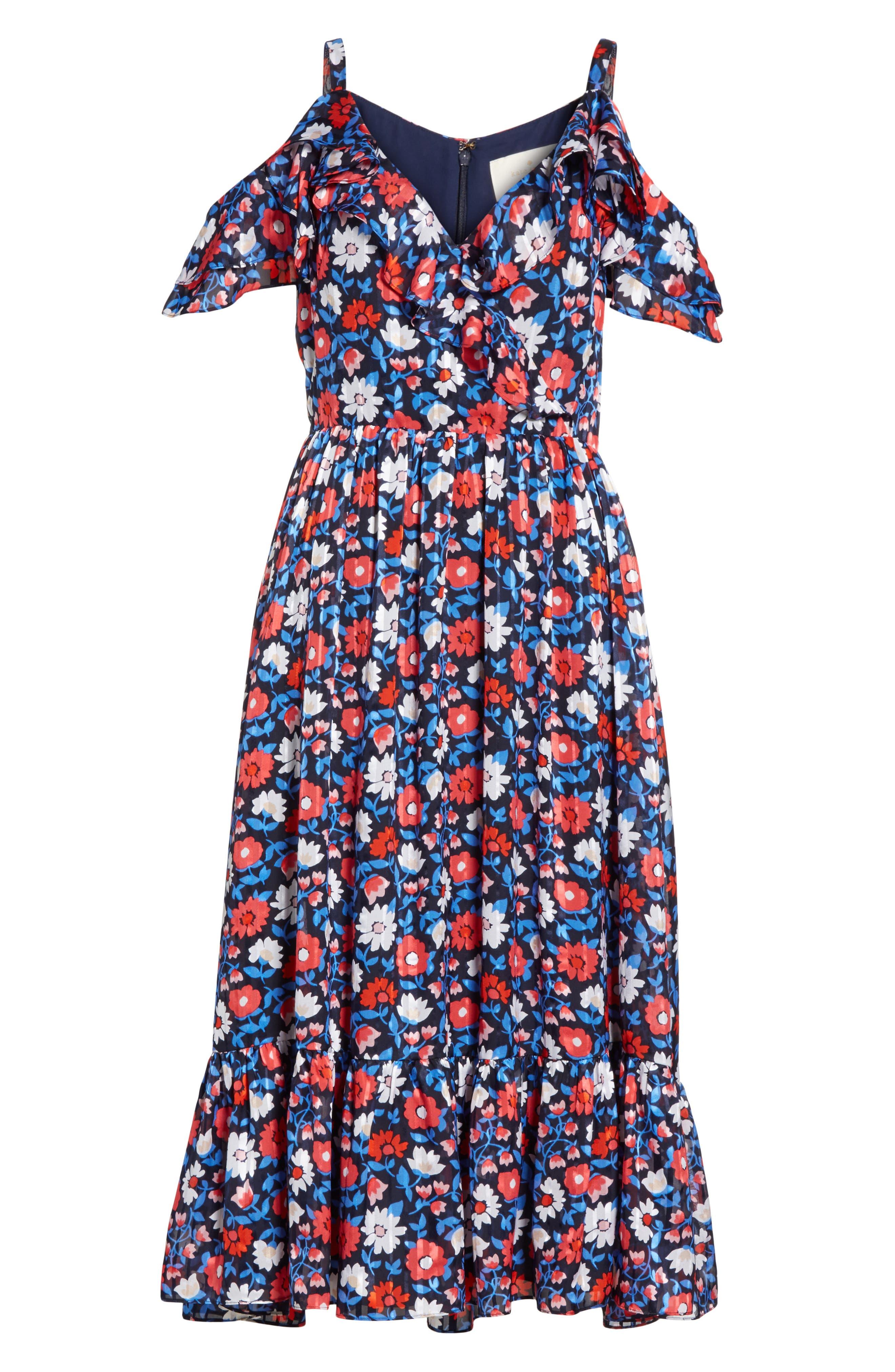 Alternate Image 6  - kate spade new york daisy satin stripe midi silk dress