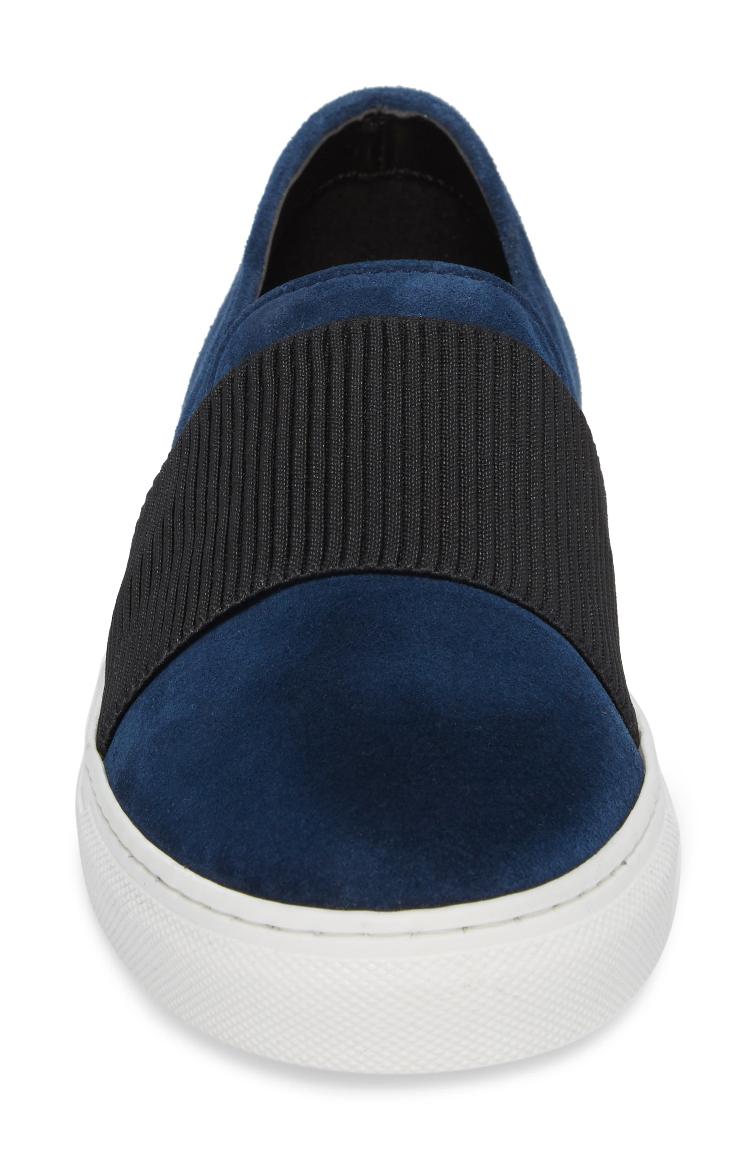 Otto Slip-On Sneaker,                             Alternate thumbnail 4, color,                             Navy Suede
