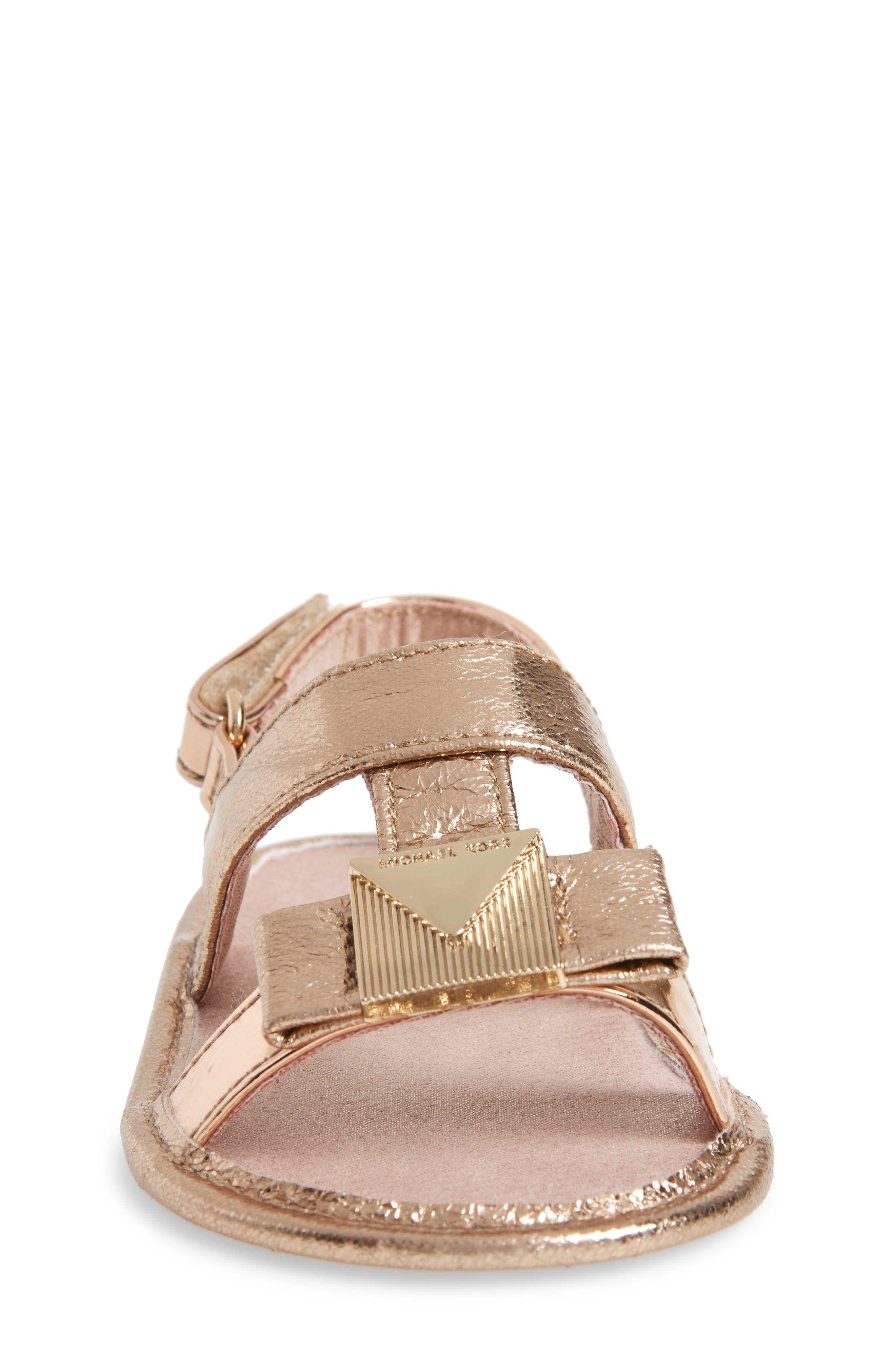 Baby Sugar Metallic Sandal,                             Alternate thumbnail 4, color,                             Rose Gold