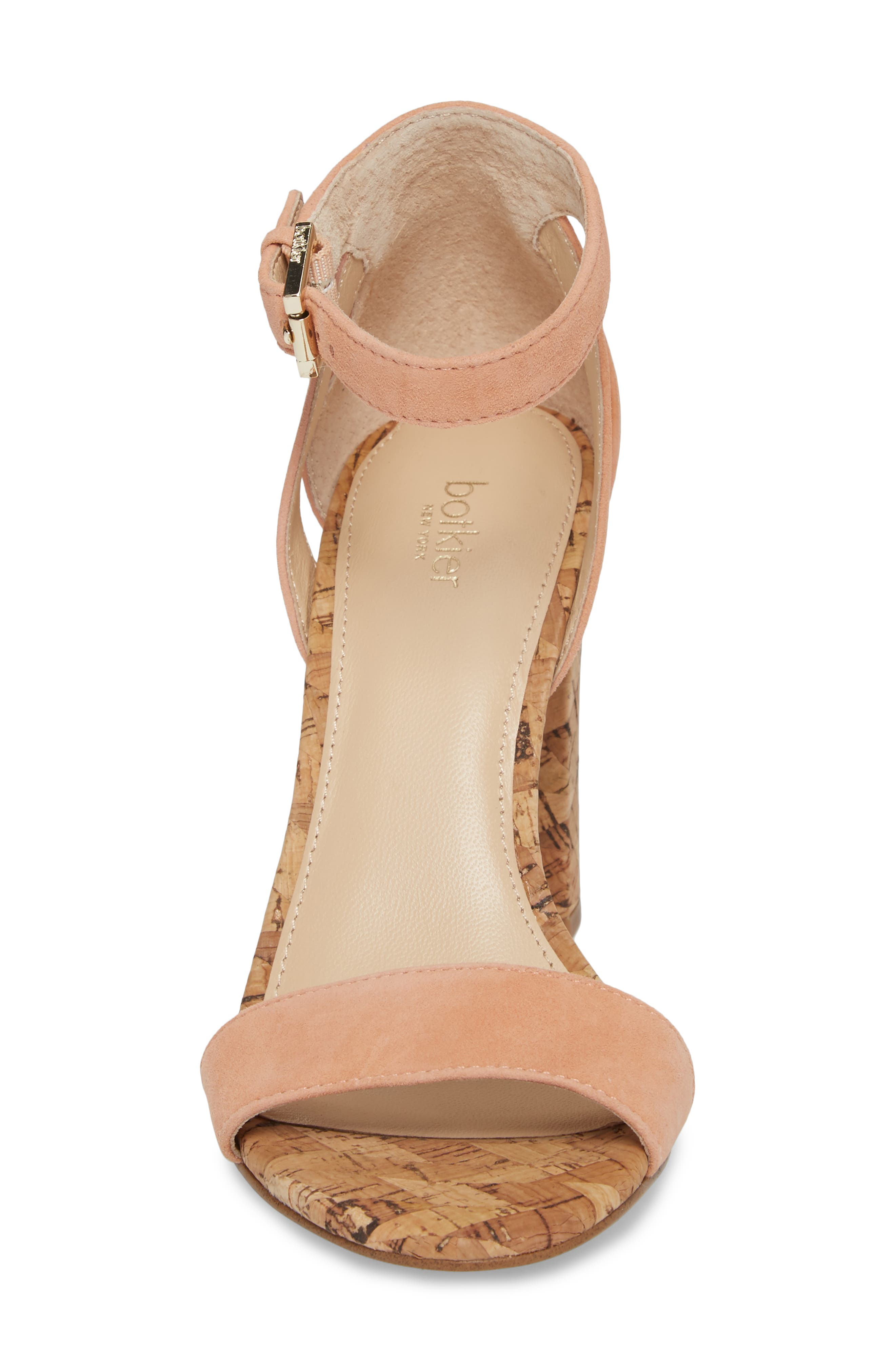 Gianna Ankle Strap Sandal,                             Alternate thumbnail 4, color,                             Soft Peach Suede