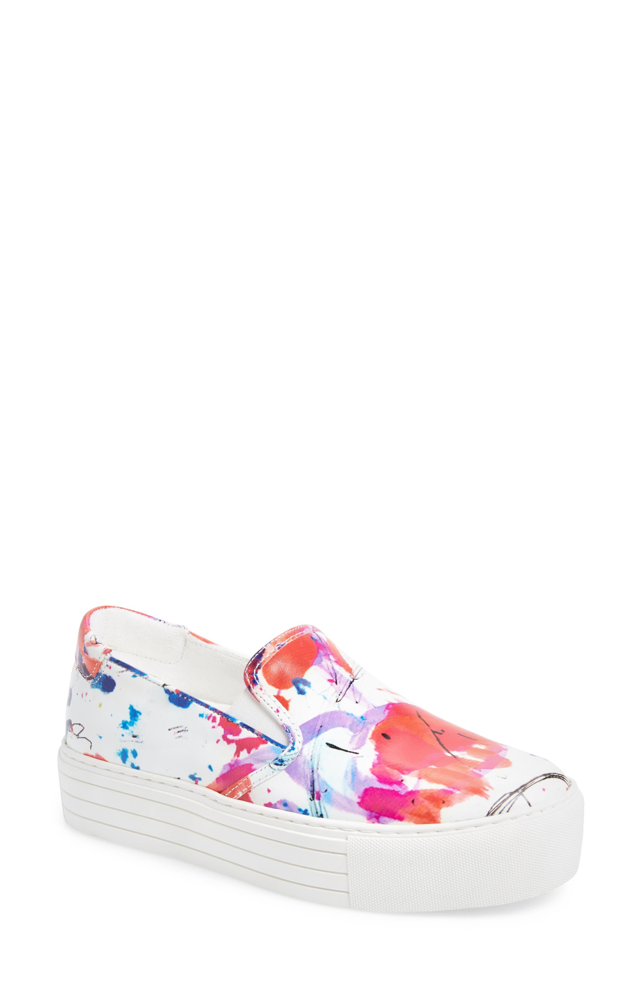 Joanie Slip-On Platform Sneaker,                             Main thumbnail 1, color,                             White Multi Print Leather