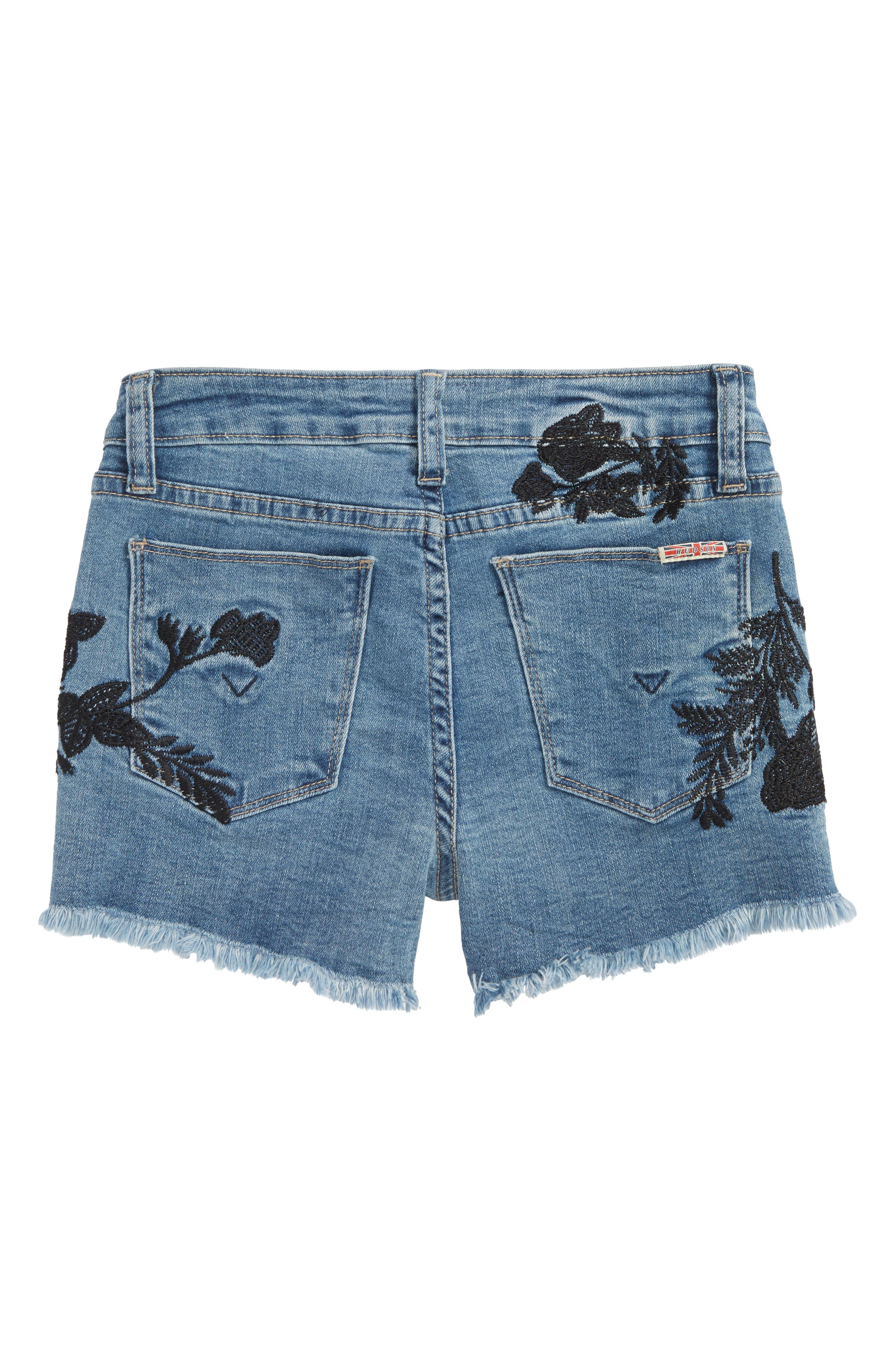 Floral Embroidery Frayed Hem Shorts,                             Alternate thumbnail 2, color,                             Crown Blue