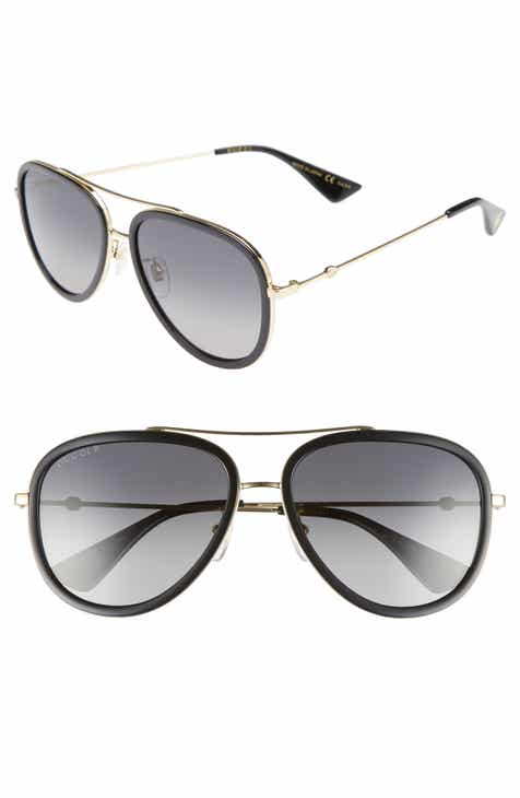eb3b97c61f Gucci 57mm Polarized Metal Aviator Sunglasses
