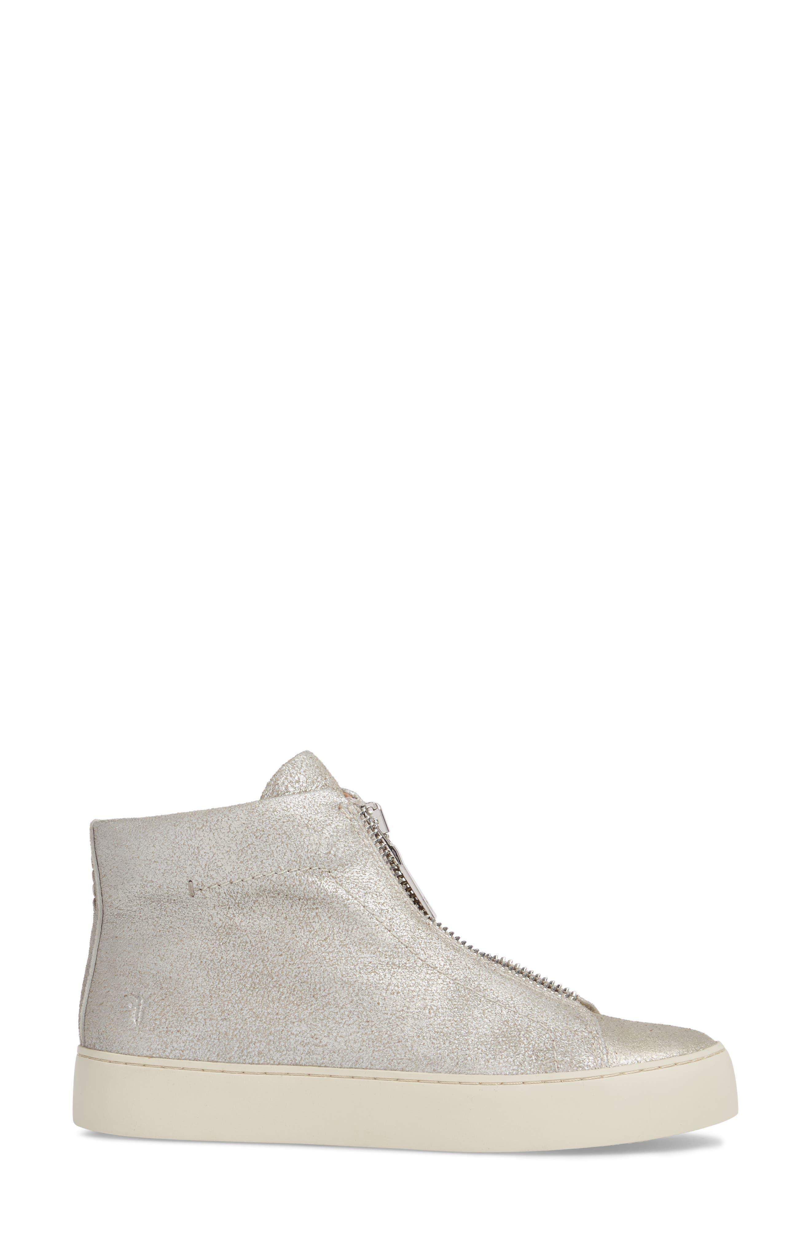 Lena Zip High Top Sneaker,                             Alternate thumbnail 3, color,                             Silver