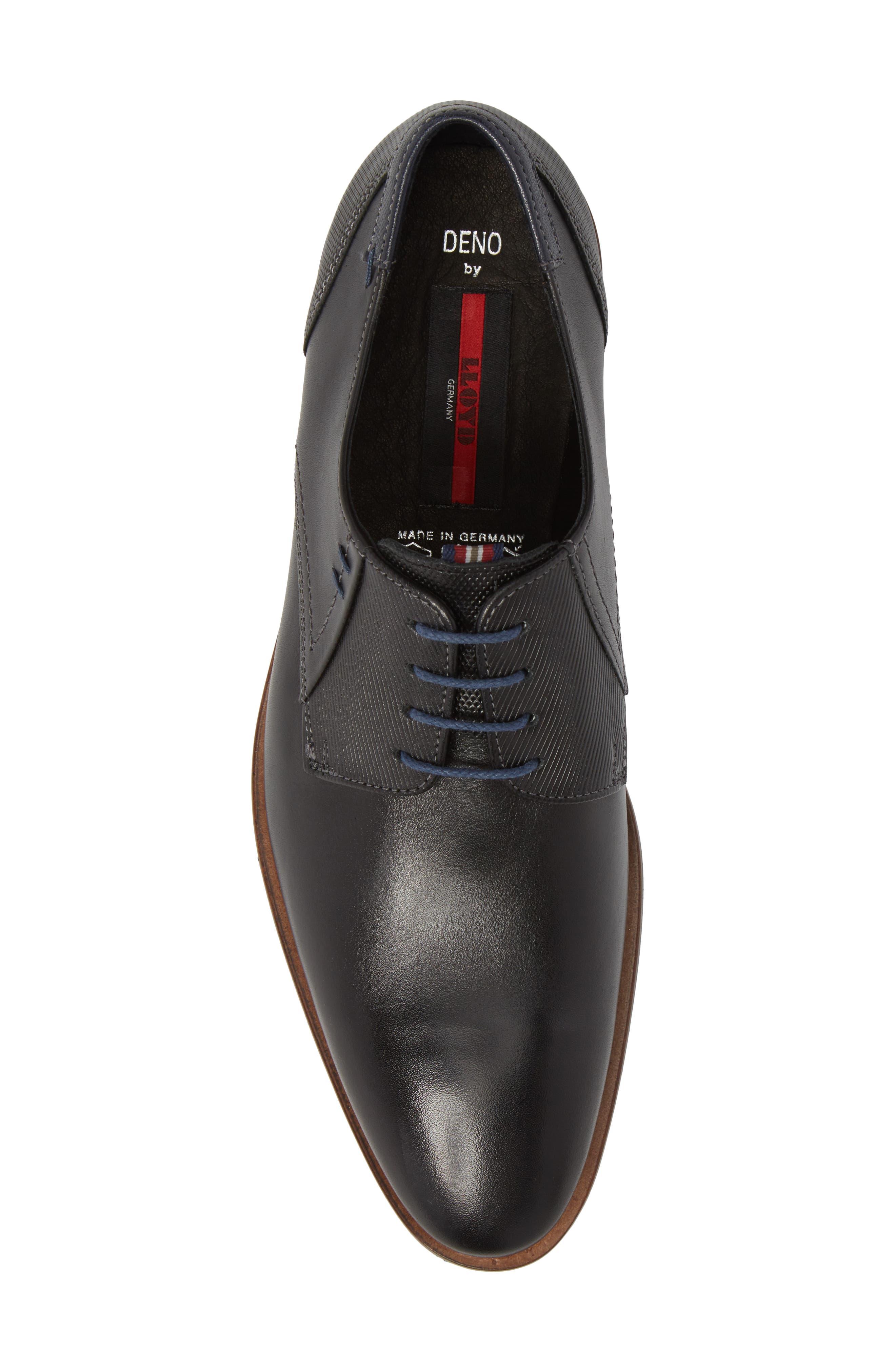 Deno Plain Toe Derby,                             Alternate thumbnail 5, color,                             Black/ Blue Leather