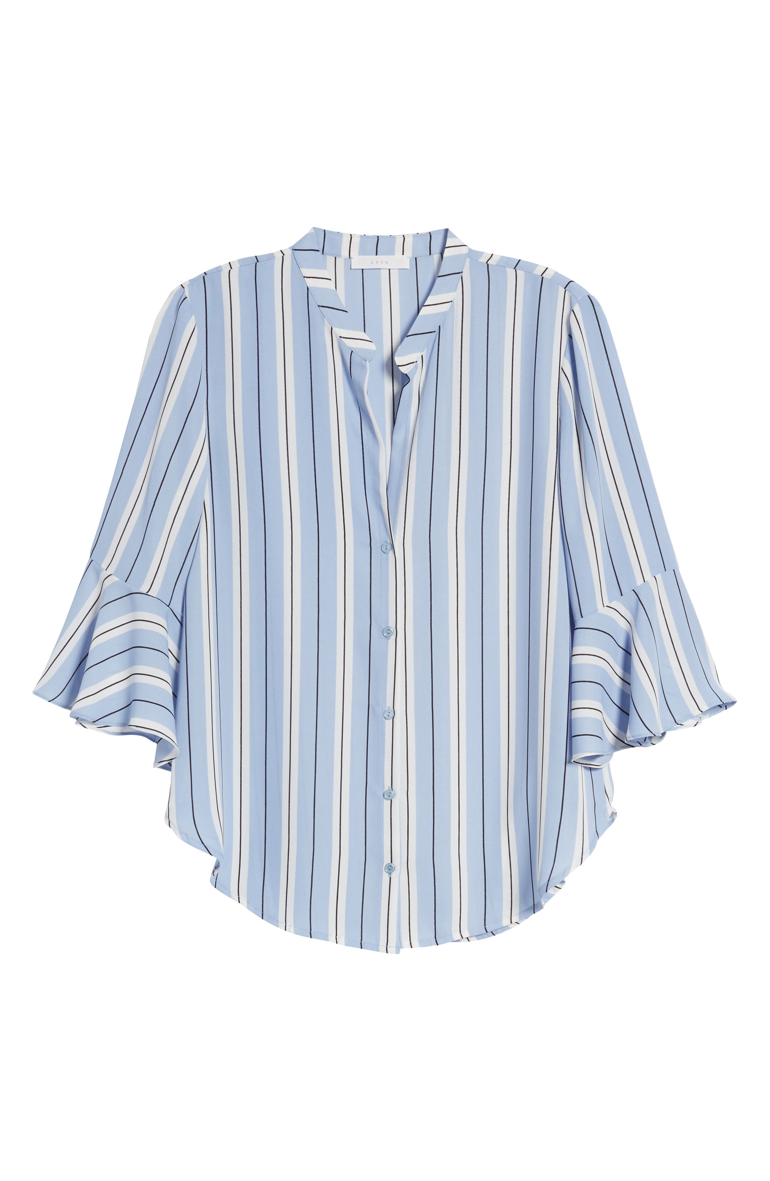 Print Bell Sleeve Shirt,                             Alternate thumbnail 7, color,                             Blue Black Stripes