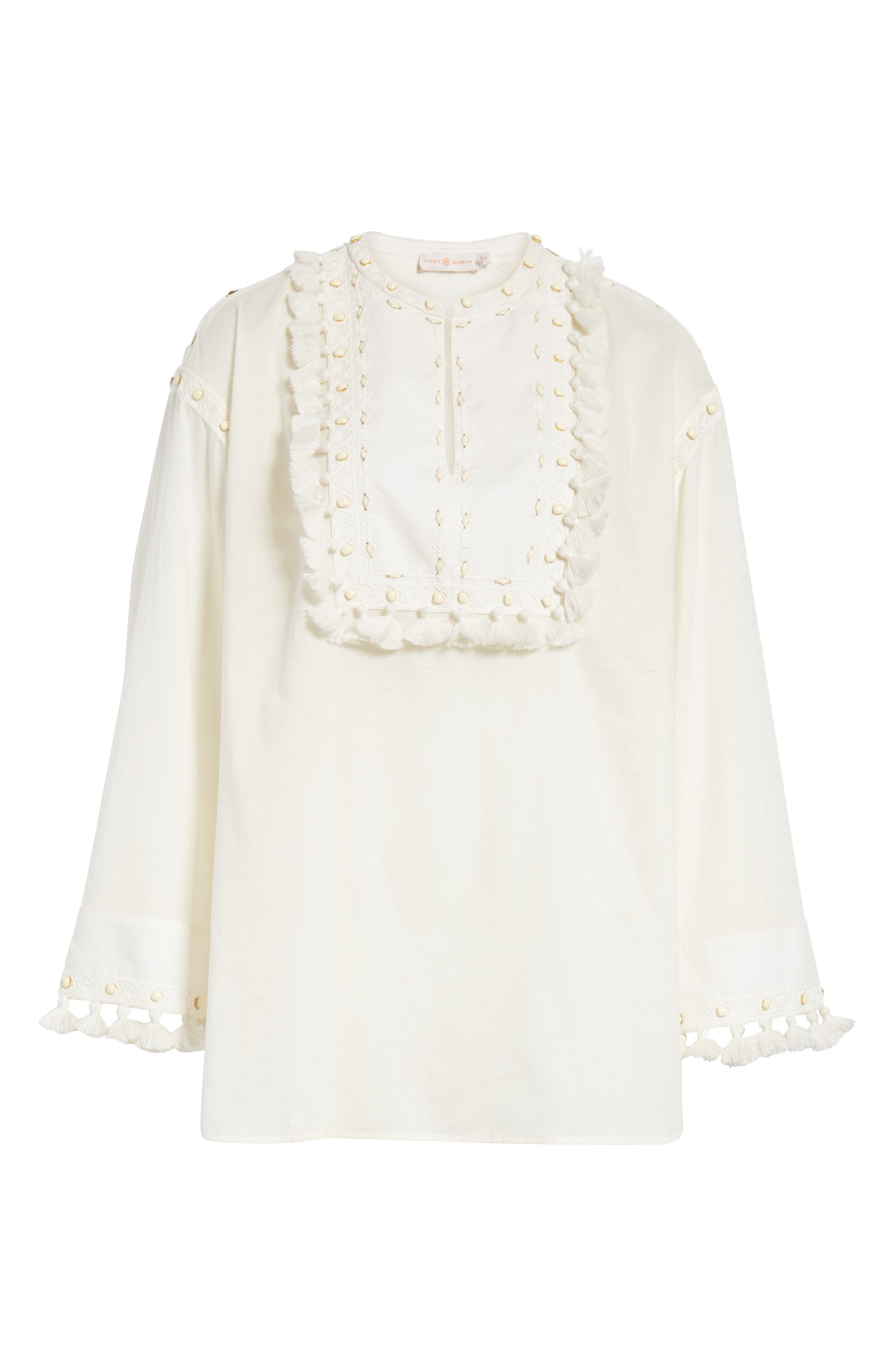 Lizzie Tassel Trim Tunic,                             Alternate thumbnail 6, color,                             New Ivory