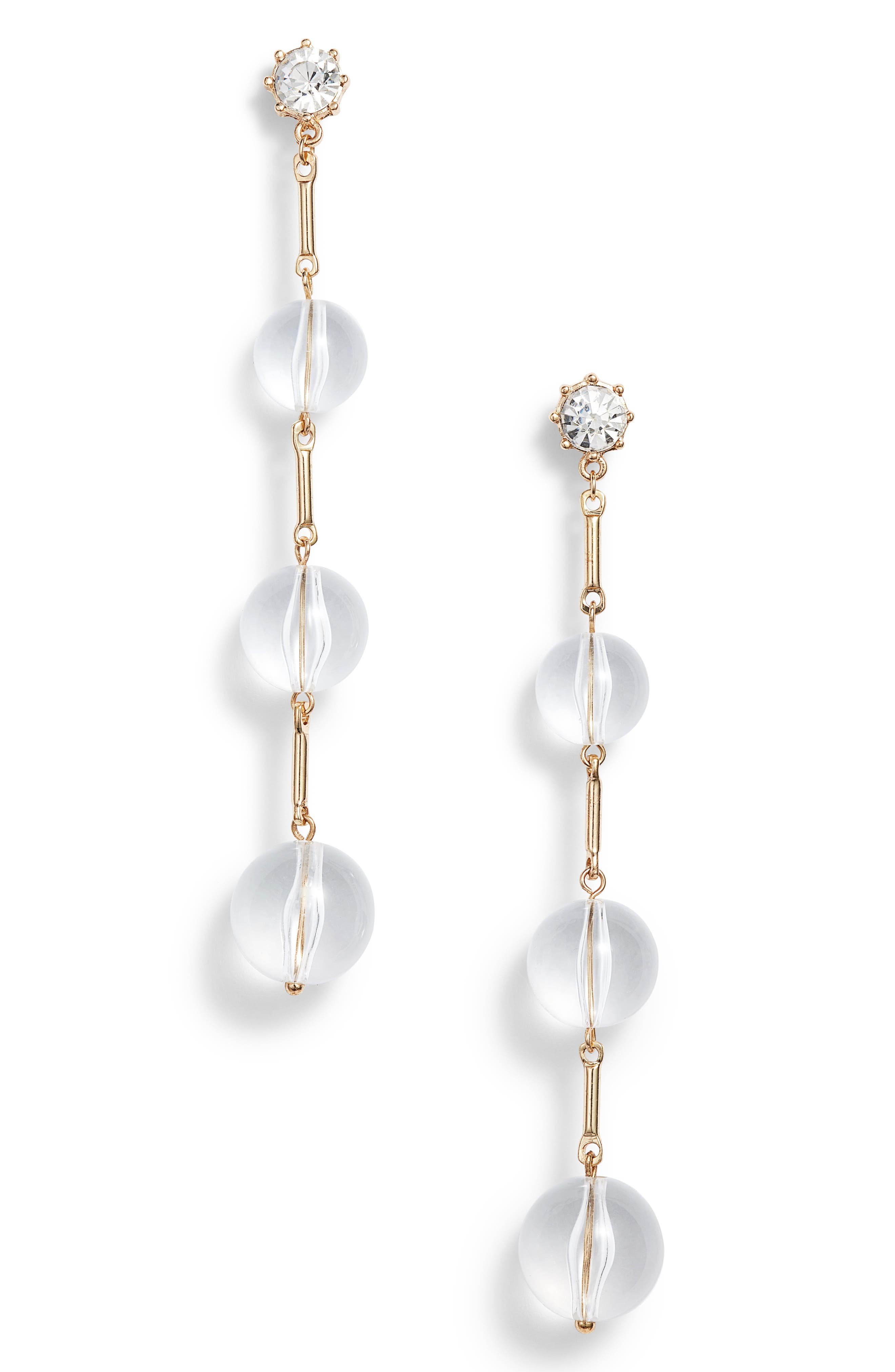 Clear Bead Drop Earrings,                         Main,                         color, Gold/ Clear
