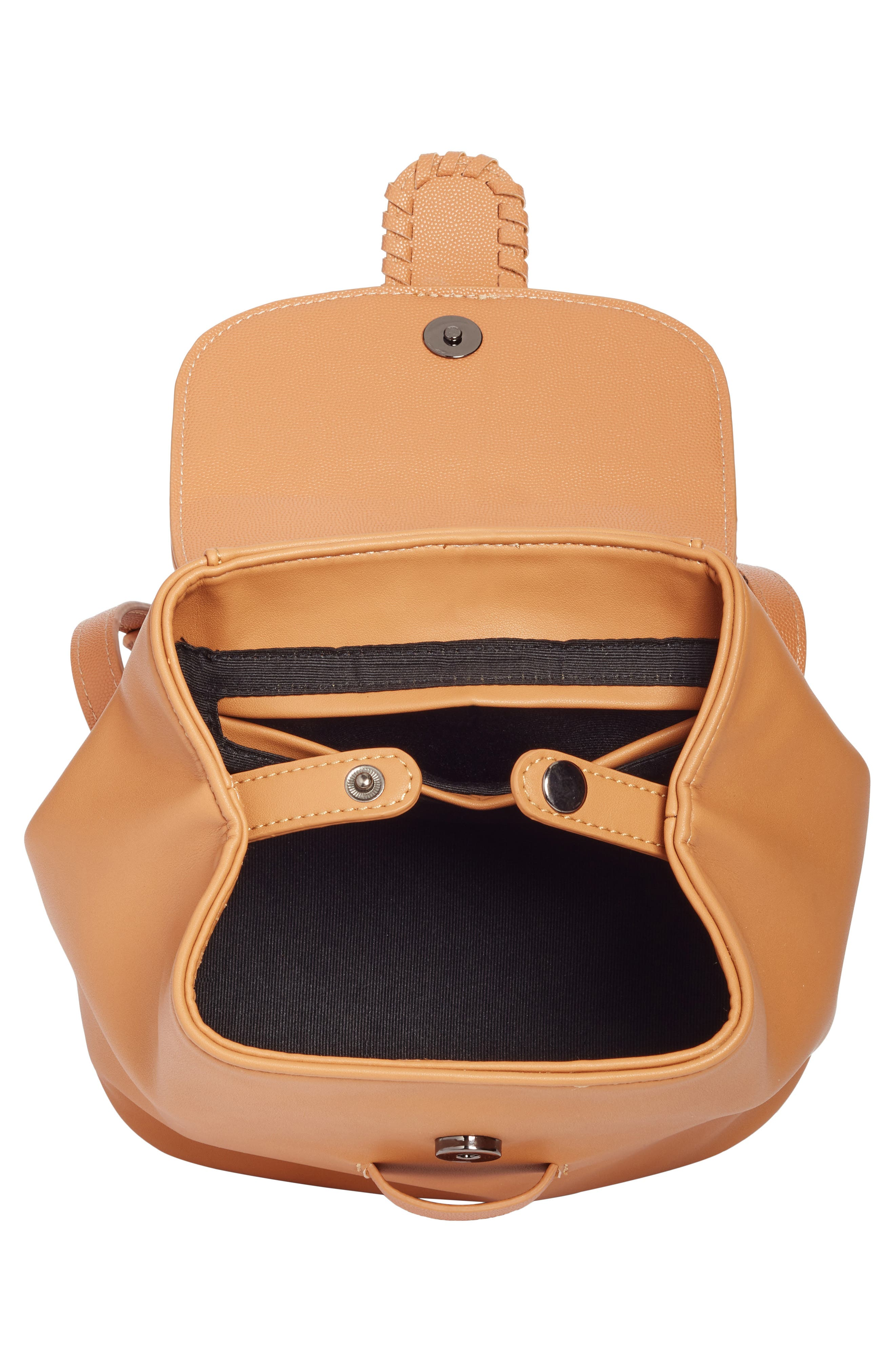 Whipstitch Faux Leather Backpack,                             Alternate thumbnail 4, color,                             Cognac