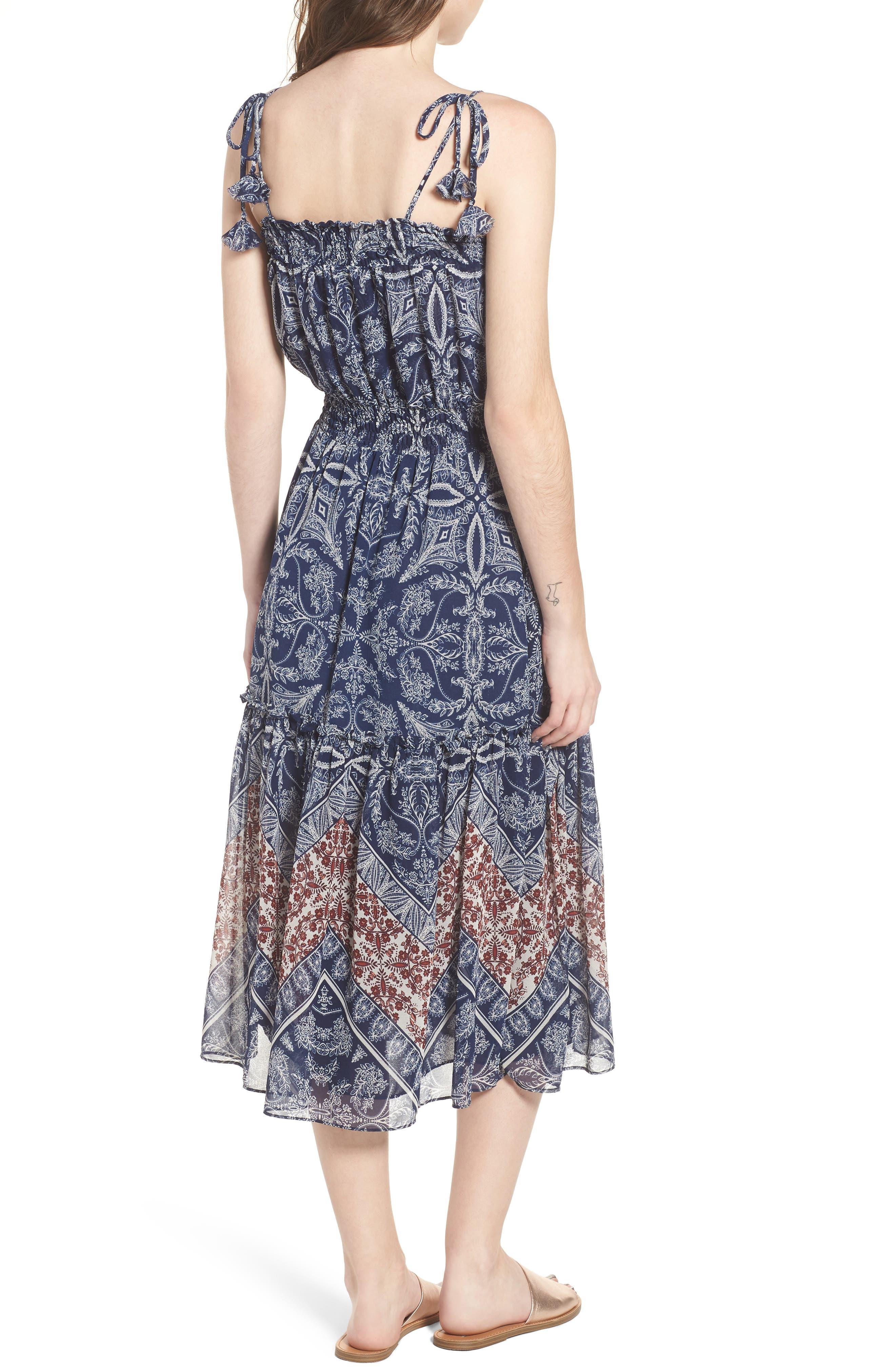 Adel Print Midi Dress,                             Alternate thumbnail 2, color,                             Blue Fe3