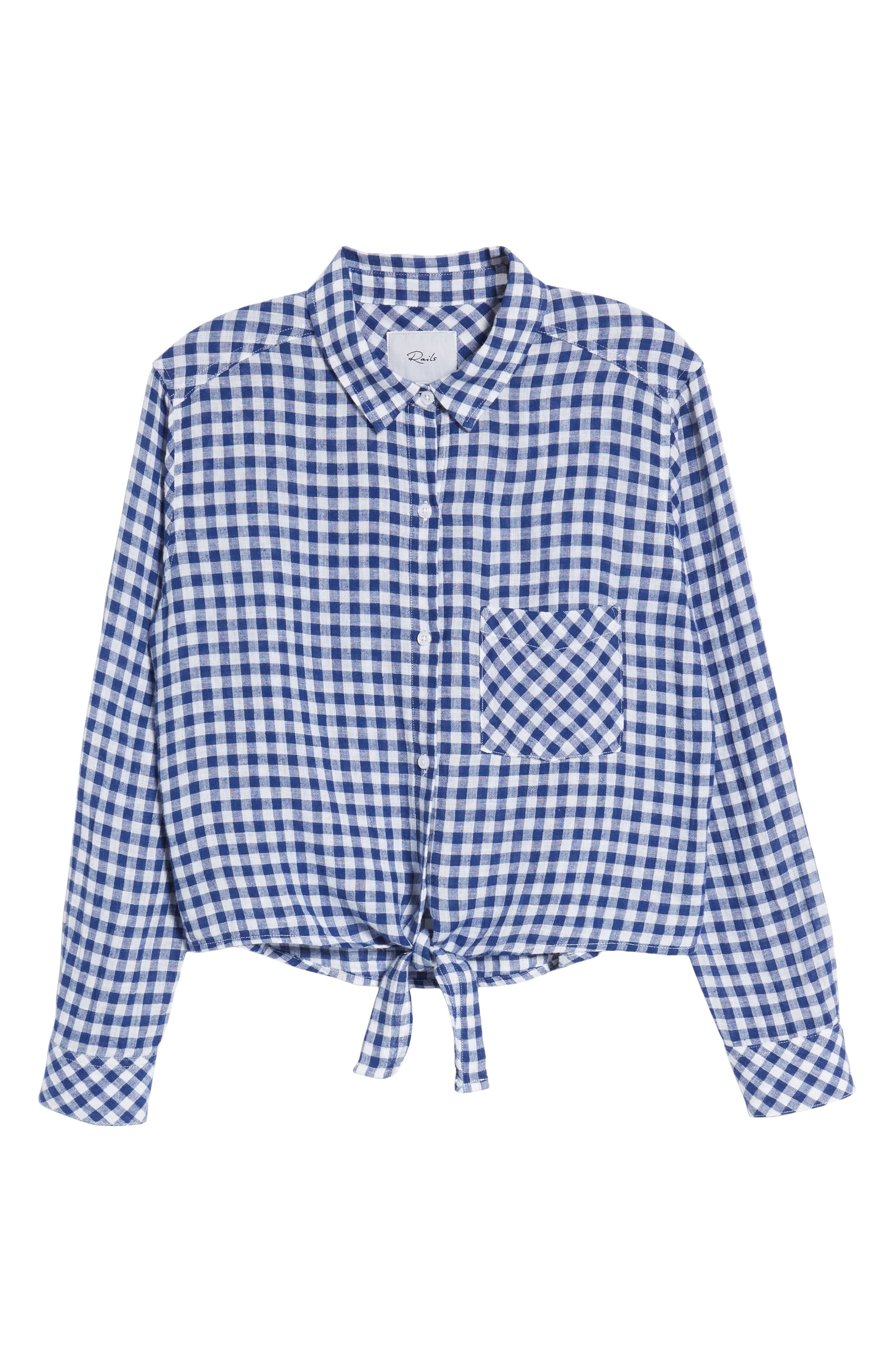 Val Gingham Tie Front Shirt,                             Alternate thumbnail 7, color,                             Blue Gingham