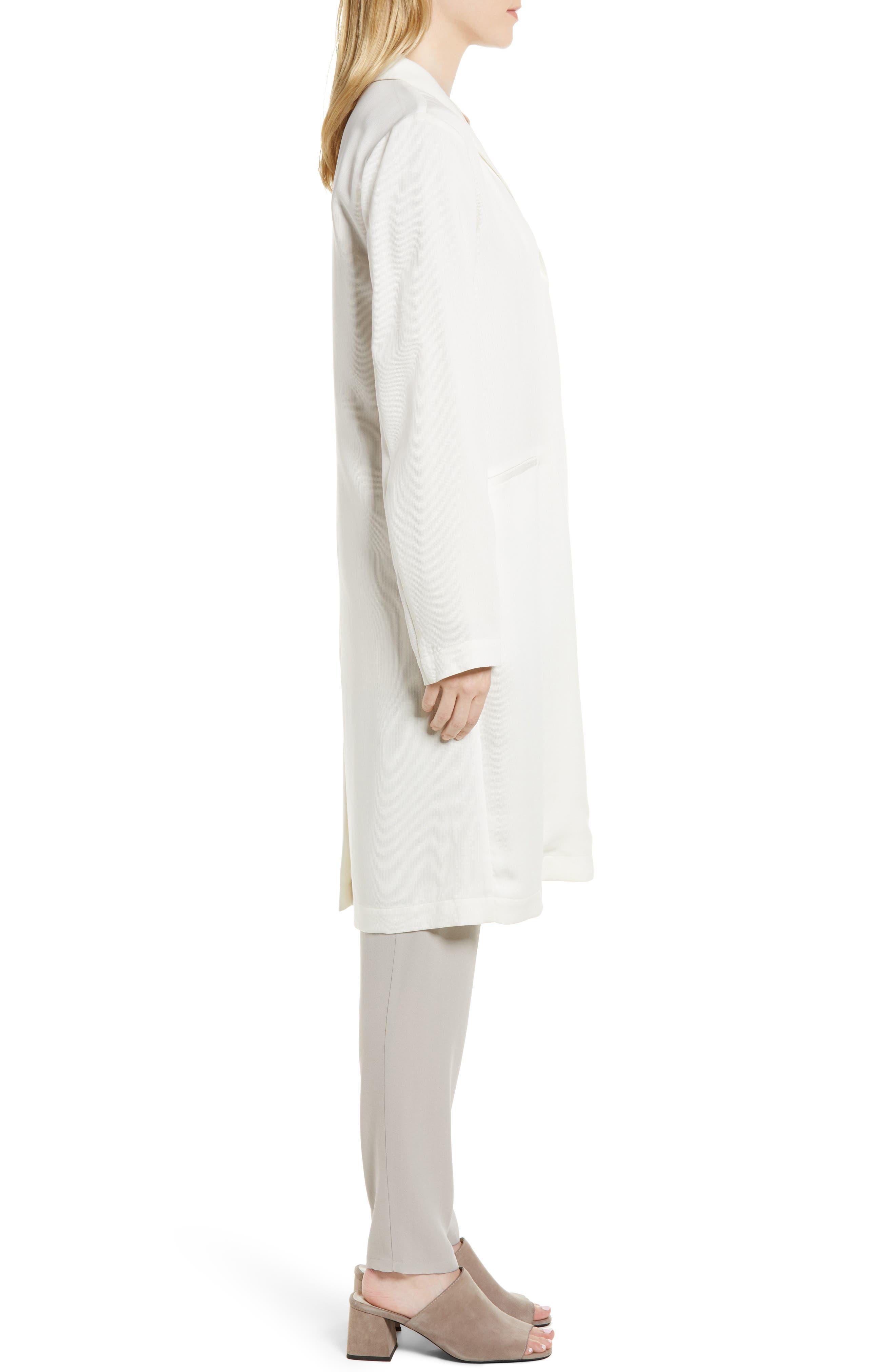 Long Tencel<sup>®</sup> Lyocell Jacket,                             Alternate thumbnail 3, color,                             White