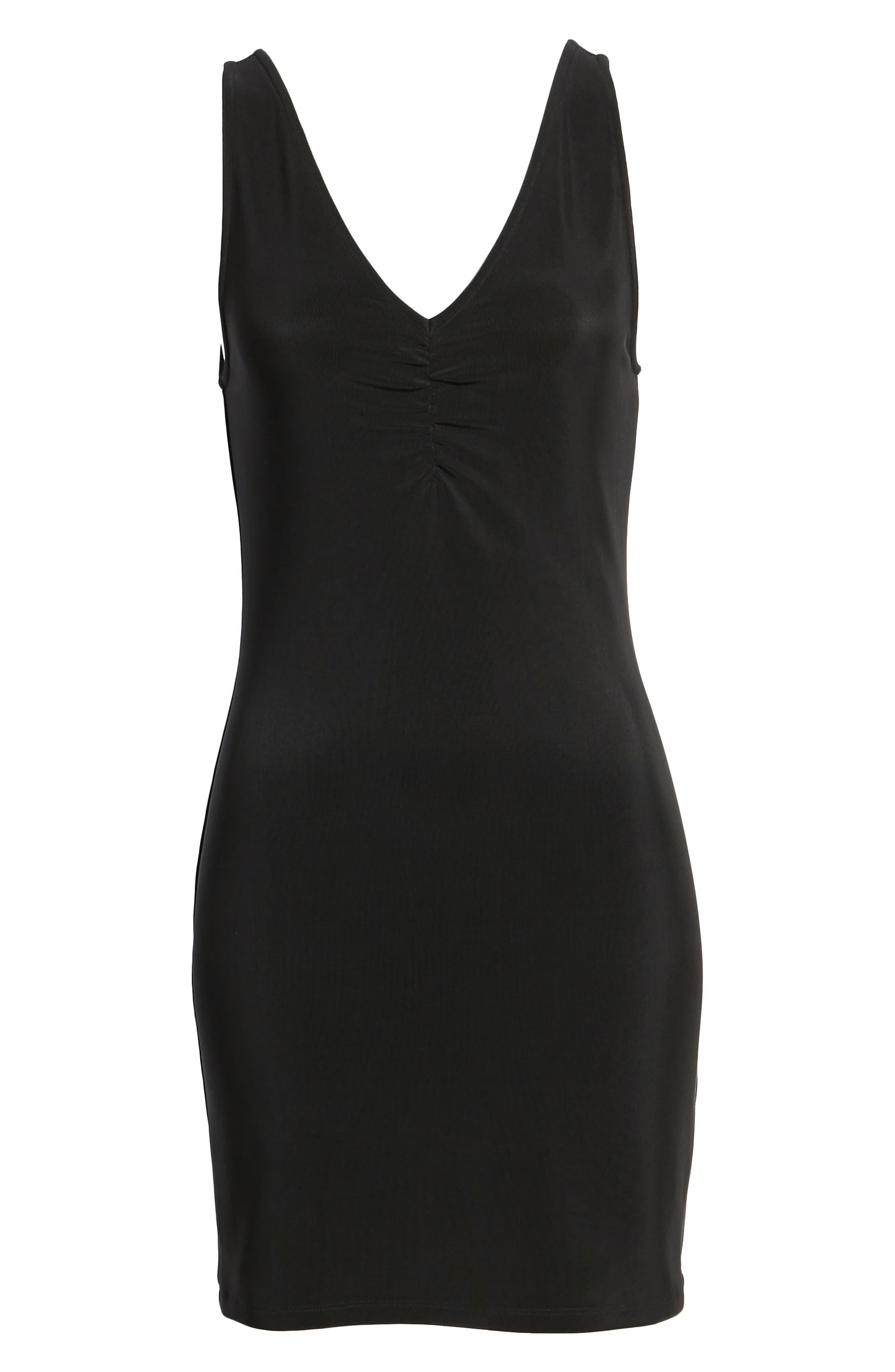 Smocked Body-Con Dress,                             Alternate thumbnail 6, color,                             Black