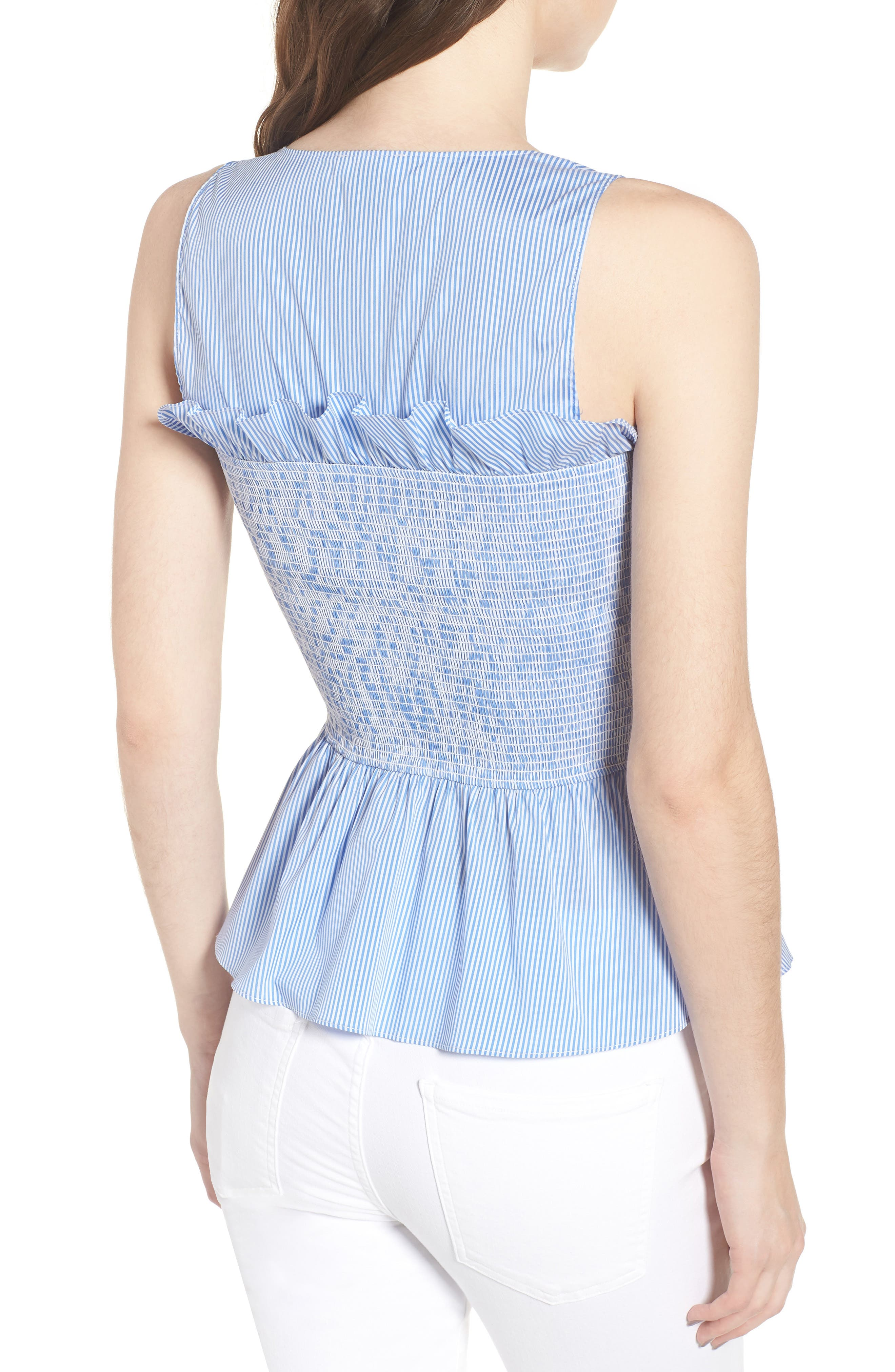 Smocked Bustier Top,                             Alternate thumbnail 2, color,                             Blue Stream Stripe