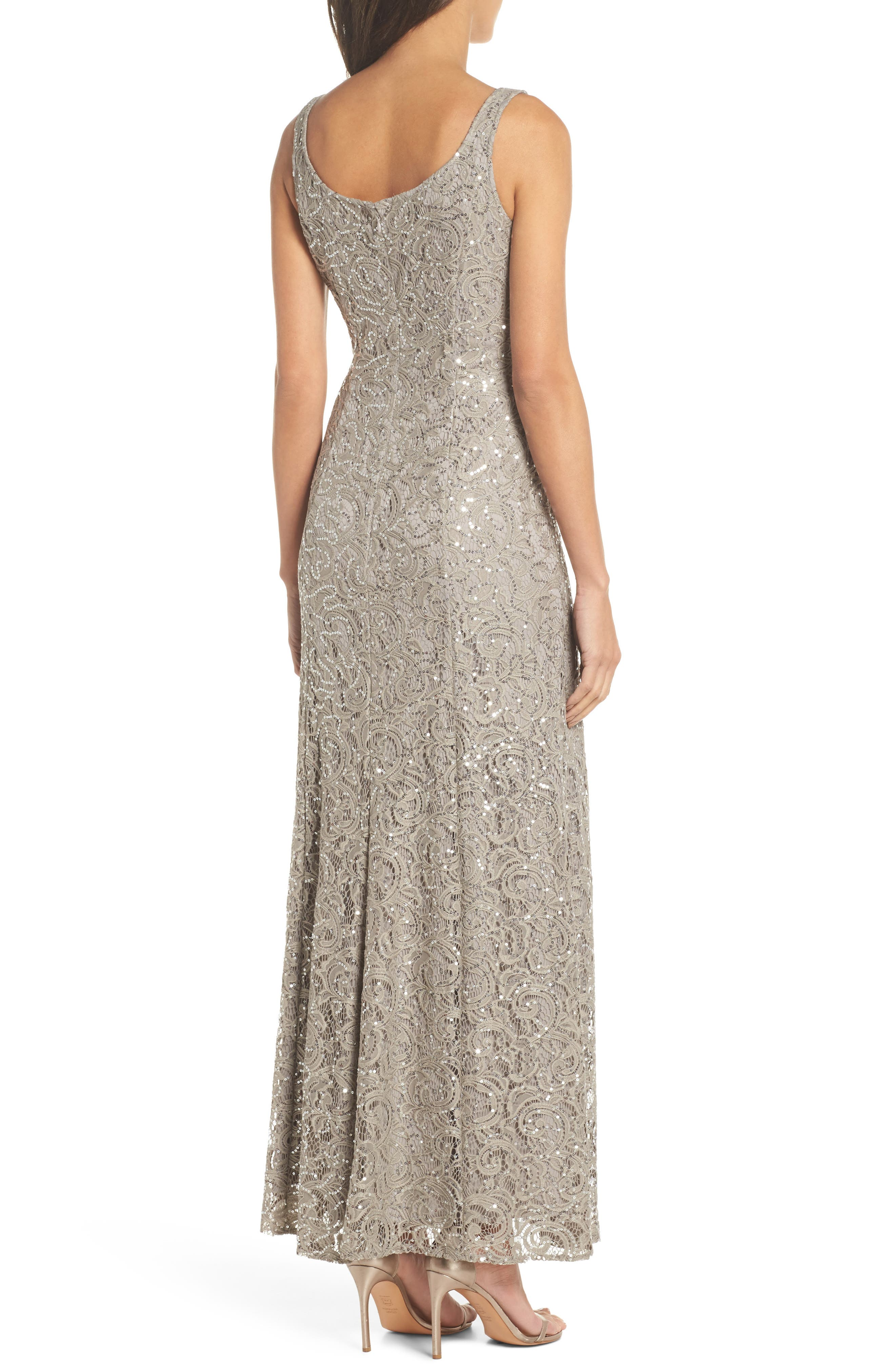 Sequin Lace Jacket Gown,                             Alternate thumbnail 4, color,                             Pewter Frost