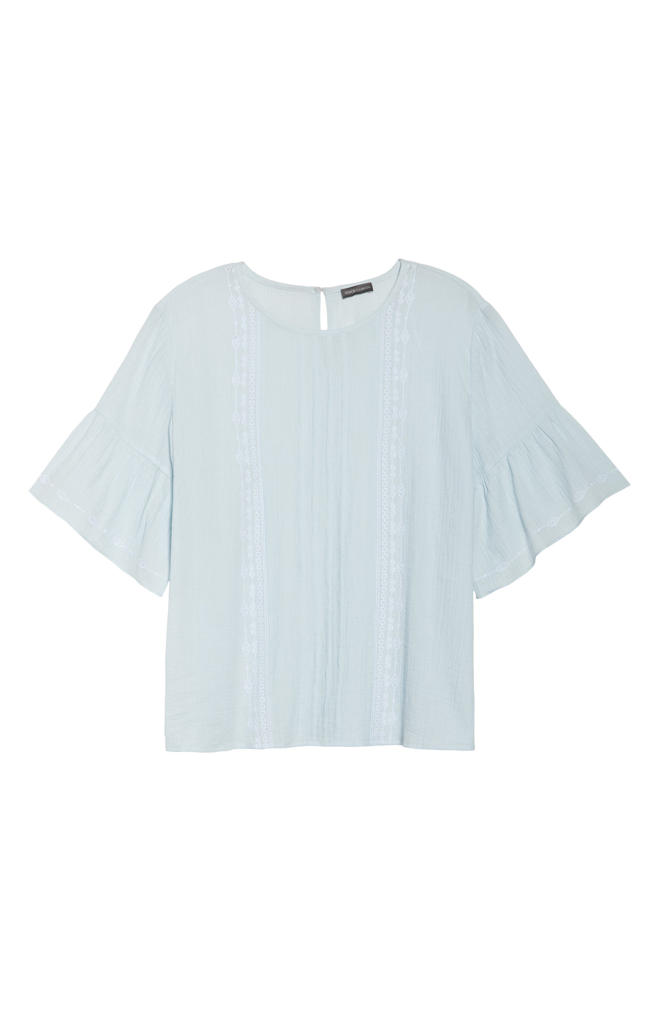 Ruffle Sleeve Embroidered Crinkle Cotton Top,                             Alternate thumbnail 5, color,                             Chalk Blue
