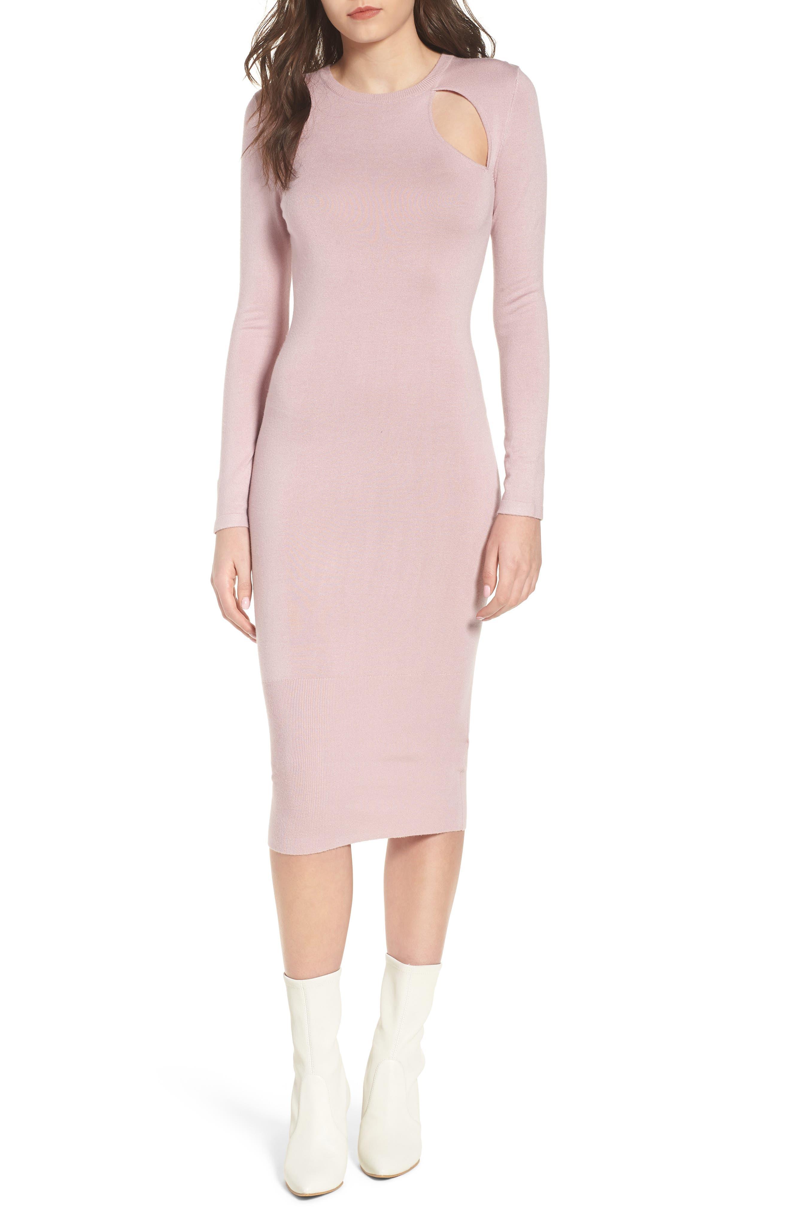 Body-Con Midi Dress,                             Main thumbnail 1, color,                             Light Pink