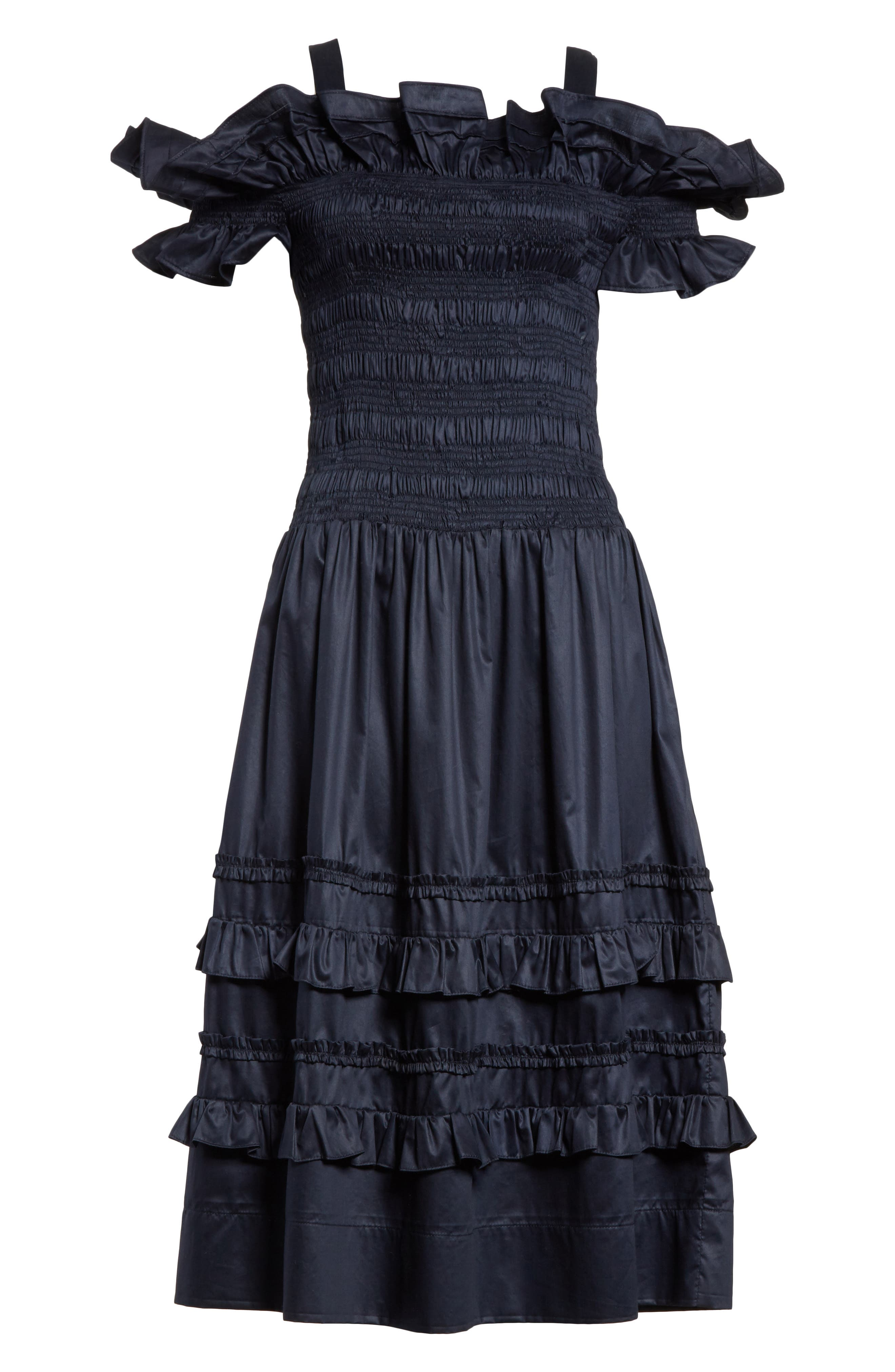 Cold Shoulder Smocked Cotton Dress,                             Alternate thumbnail 7, color,                             Navy