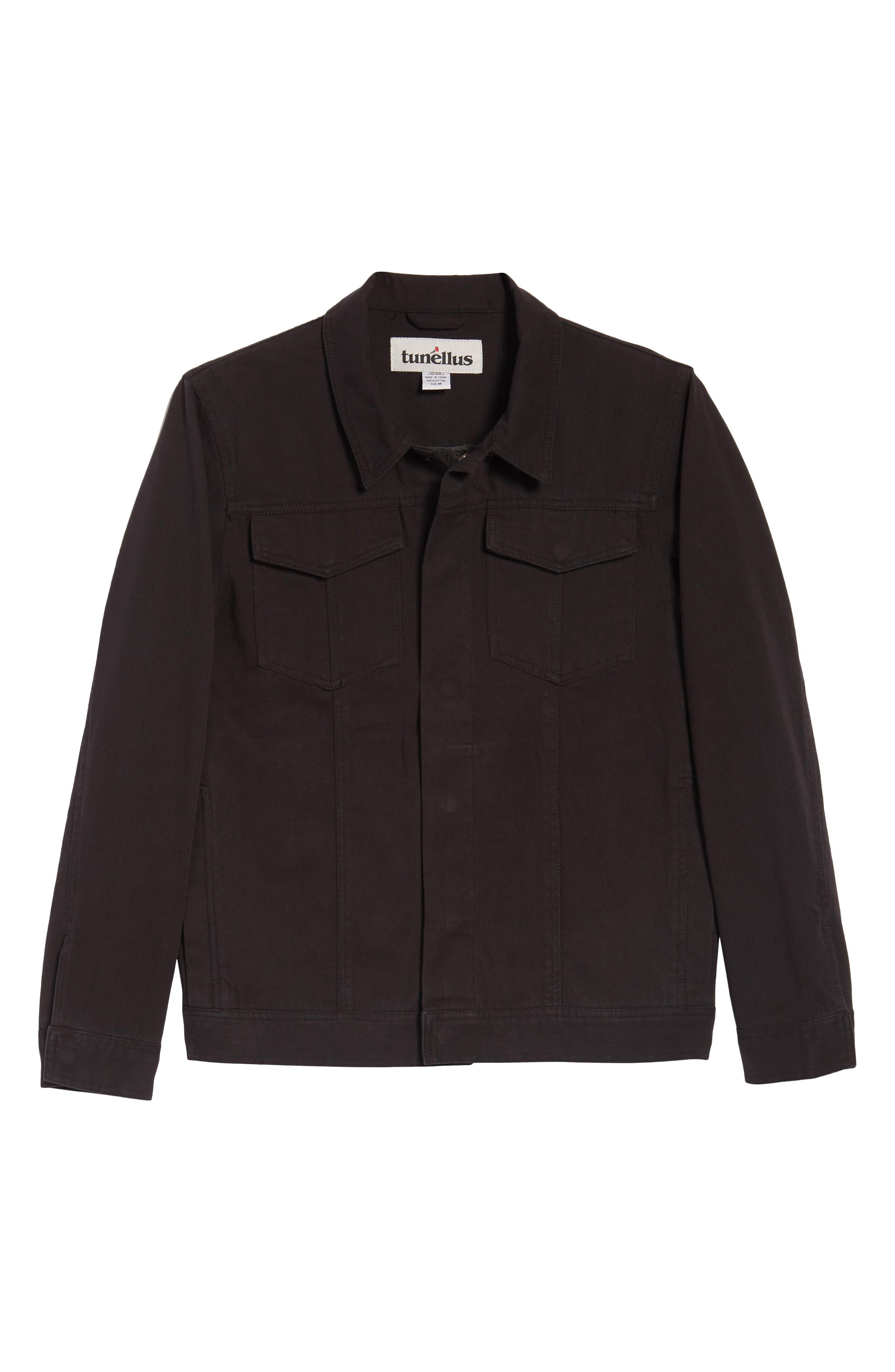 Twill Trucker Jacket,                             Alternate thumbnail 6, color,                             Black
