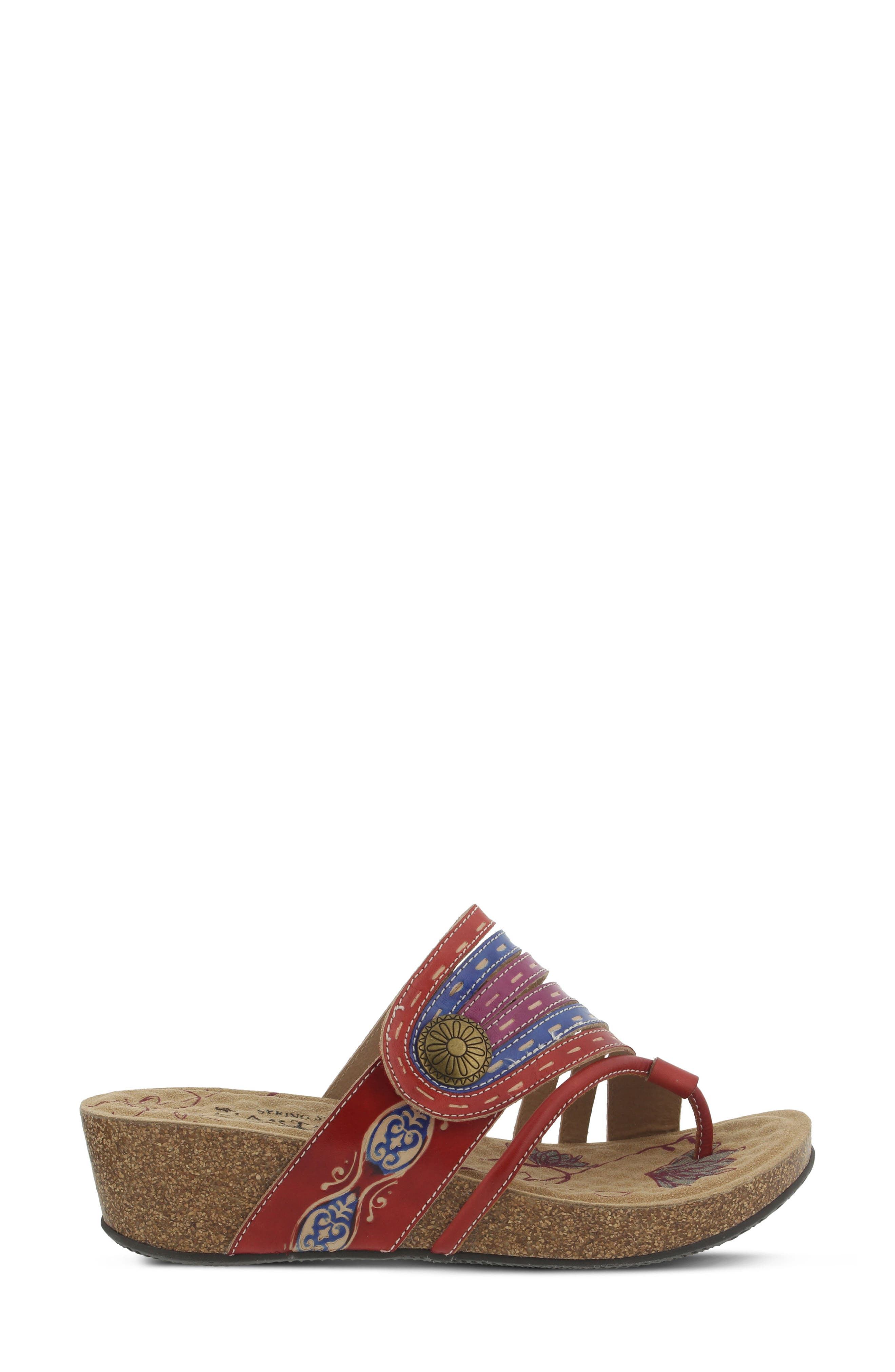 L'Artiste Claudia Wedge Sandal,                             Alternate thumbnail 3, color,                             Red Leather