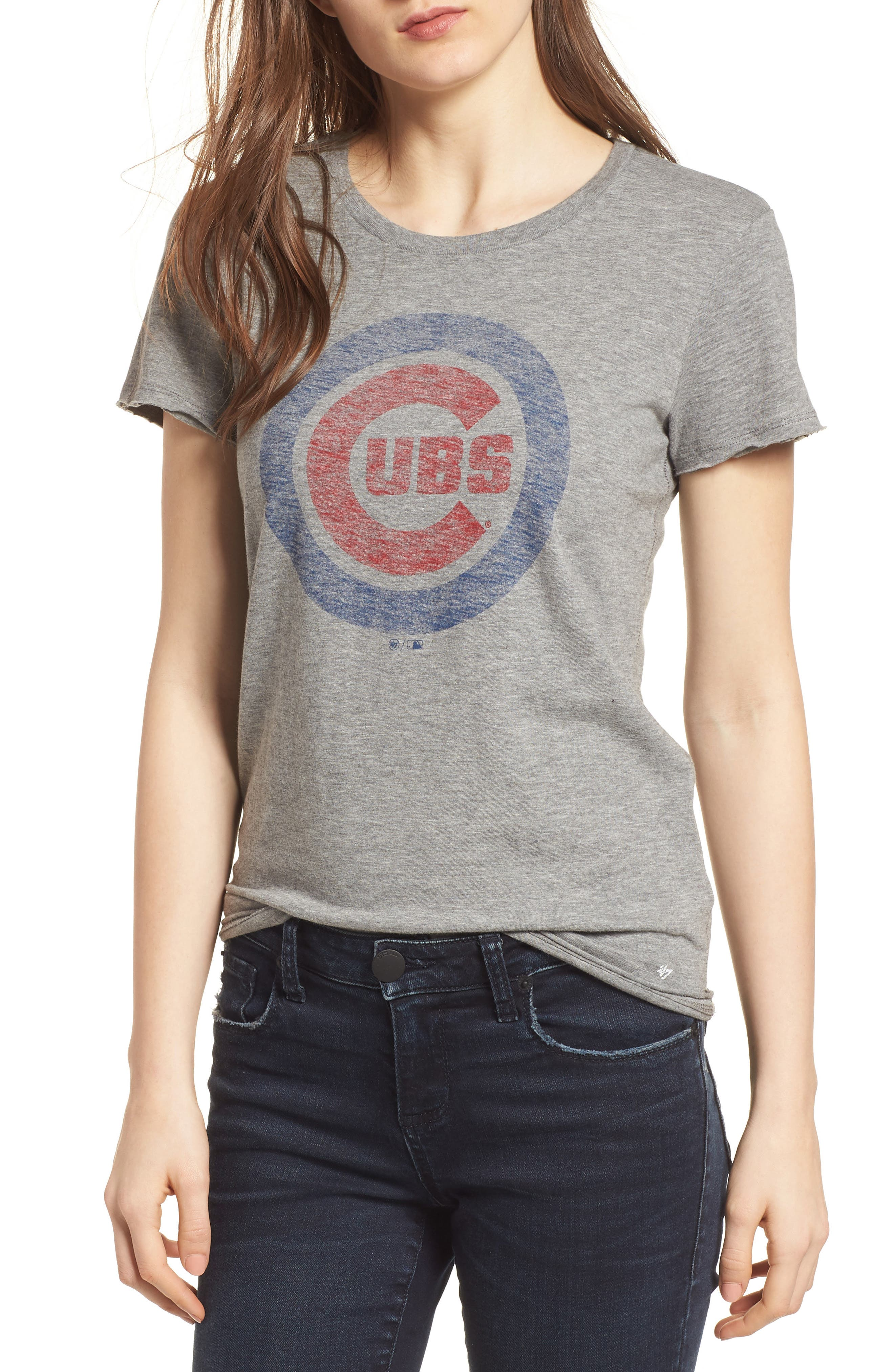 Chicago Cubs Fader Letter Tee,                         Main,                         color, Slate Grey