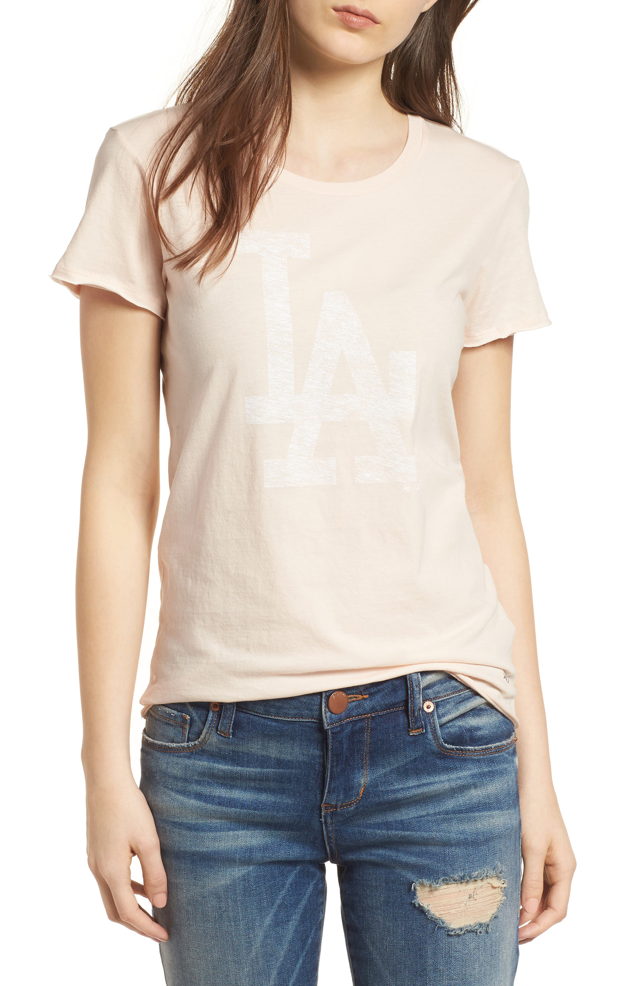 Los Angeles Dodgers Fader Letter Tee,                         Main,                         color, Blush