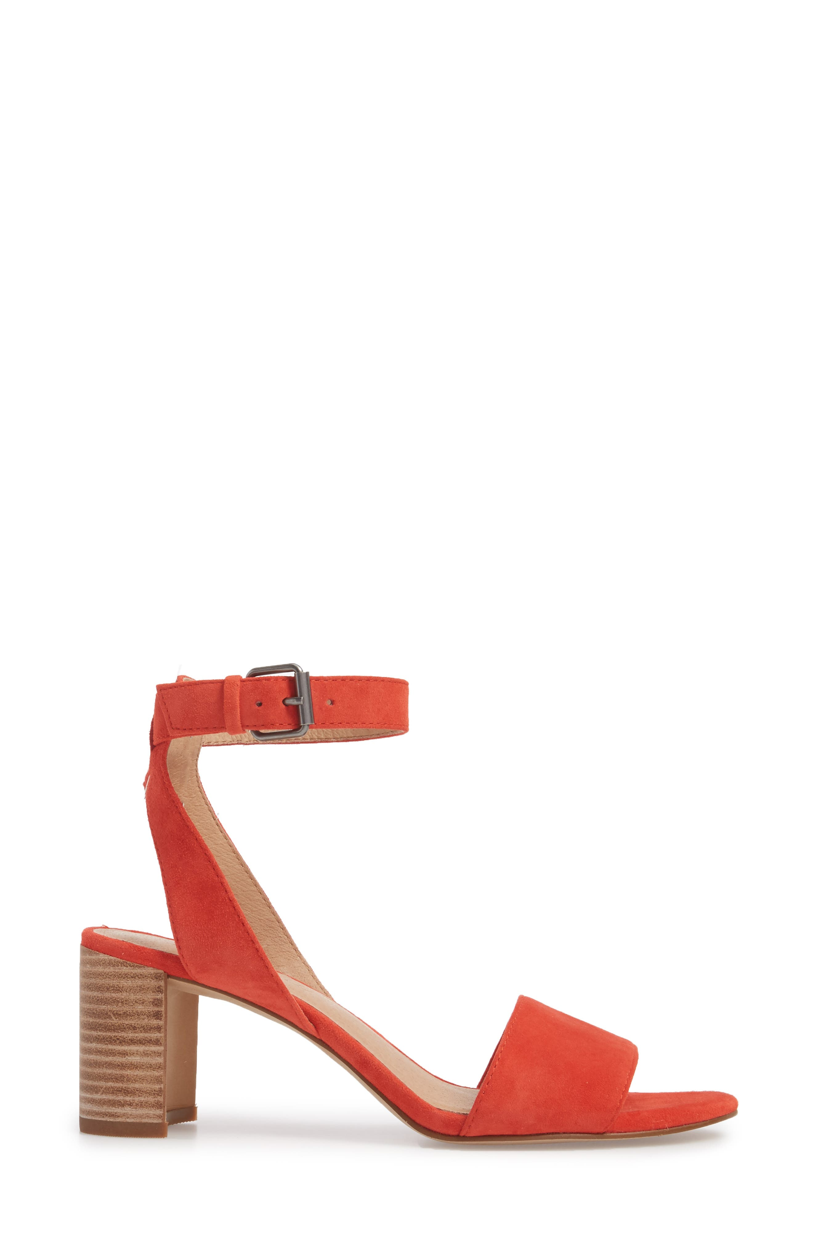 The Claudia Sandal,                             Alternate thumbnail 3, color,                             Siberian Red Suede