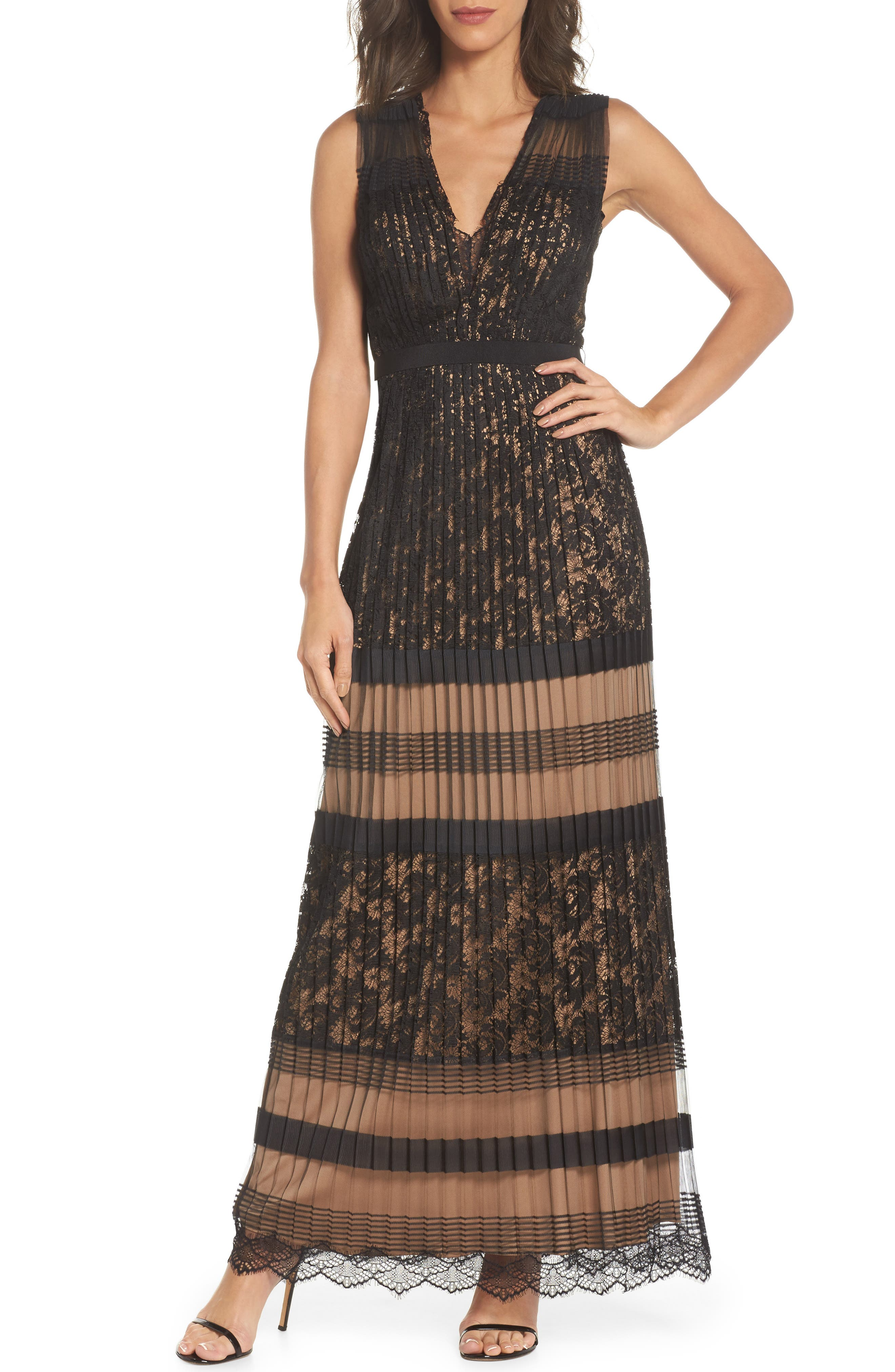 Pleated Lace Gown,                         Main,                         color, Black/ Nude