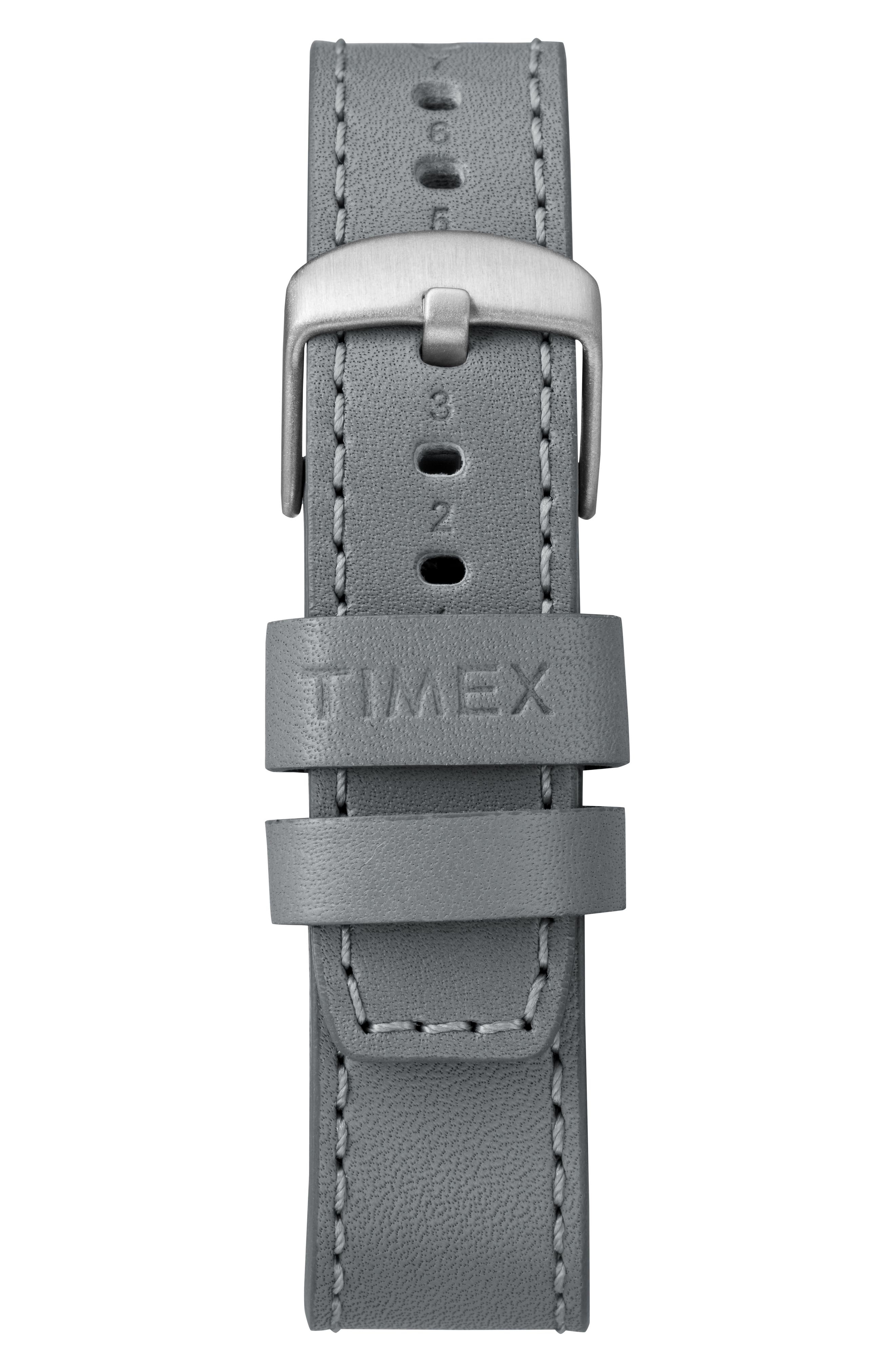 Timex Waterbury Leather Strap Watch, 40mm,                             Alternate thumbnail 2, color,                             Grey/ Silver