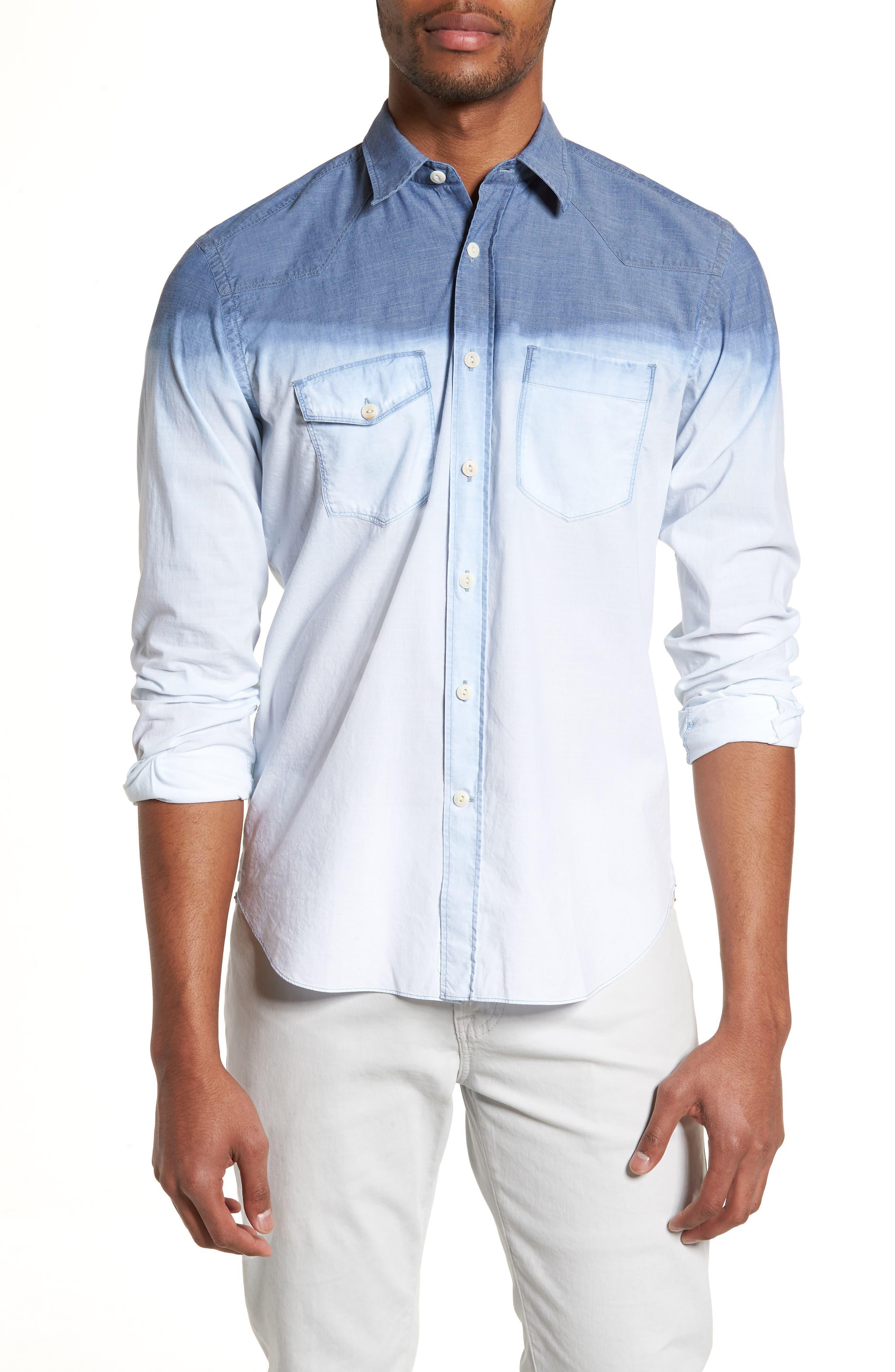 Tailored Fit Dégradé Sport Shirt,                             Main thumbnail 1, color,                             Blue