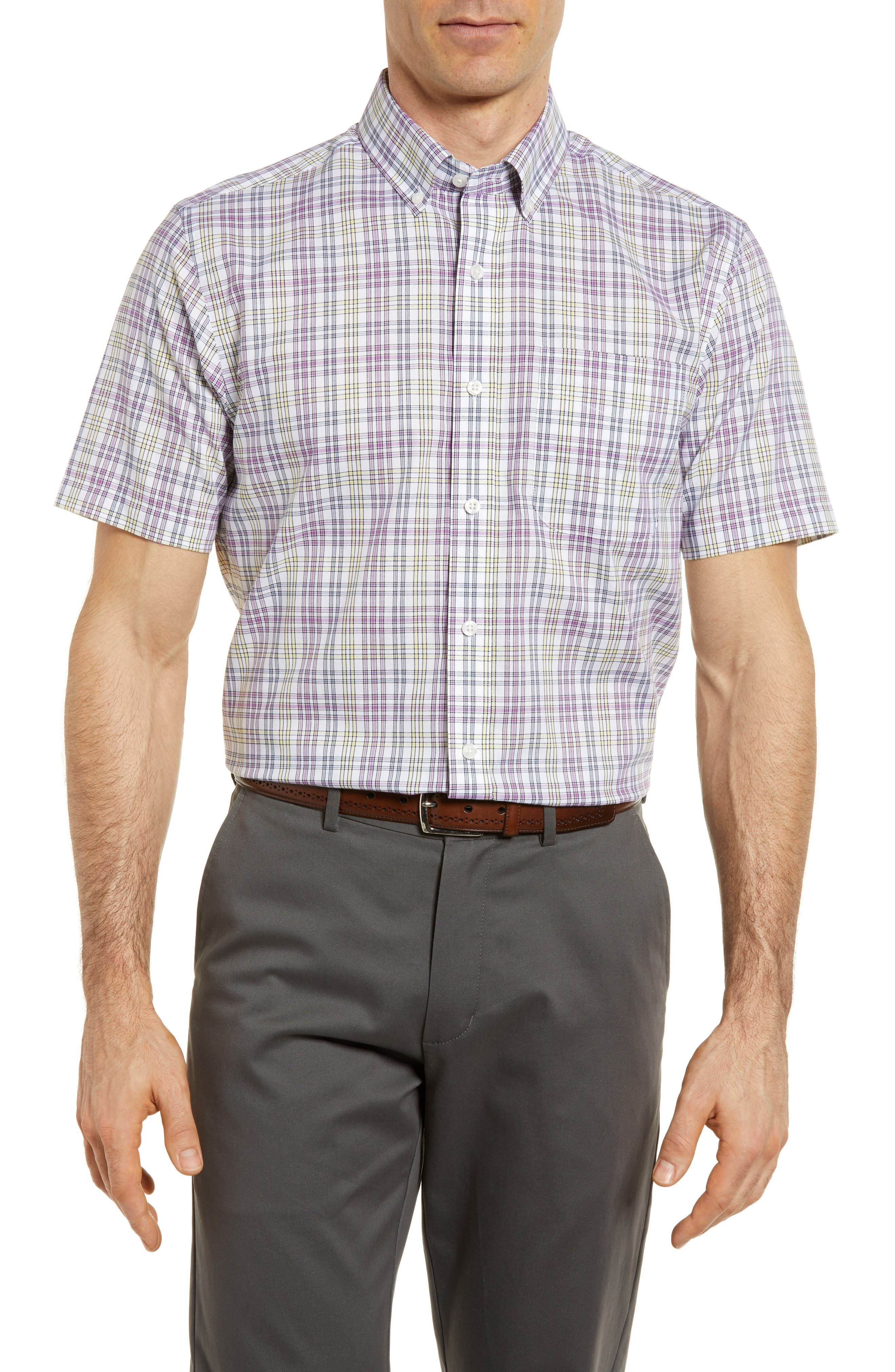 Isaac Plaid Easy Care Woven Shirt,                         Main,                         color, Magnetic