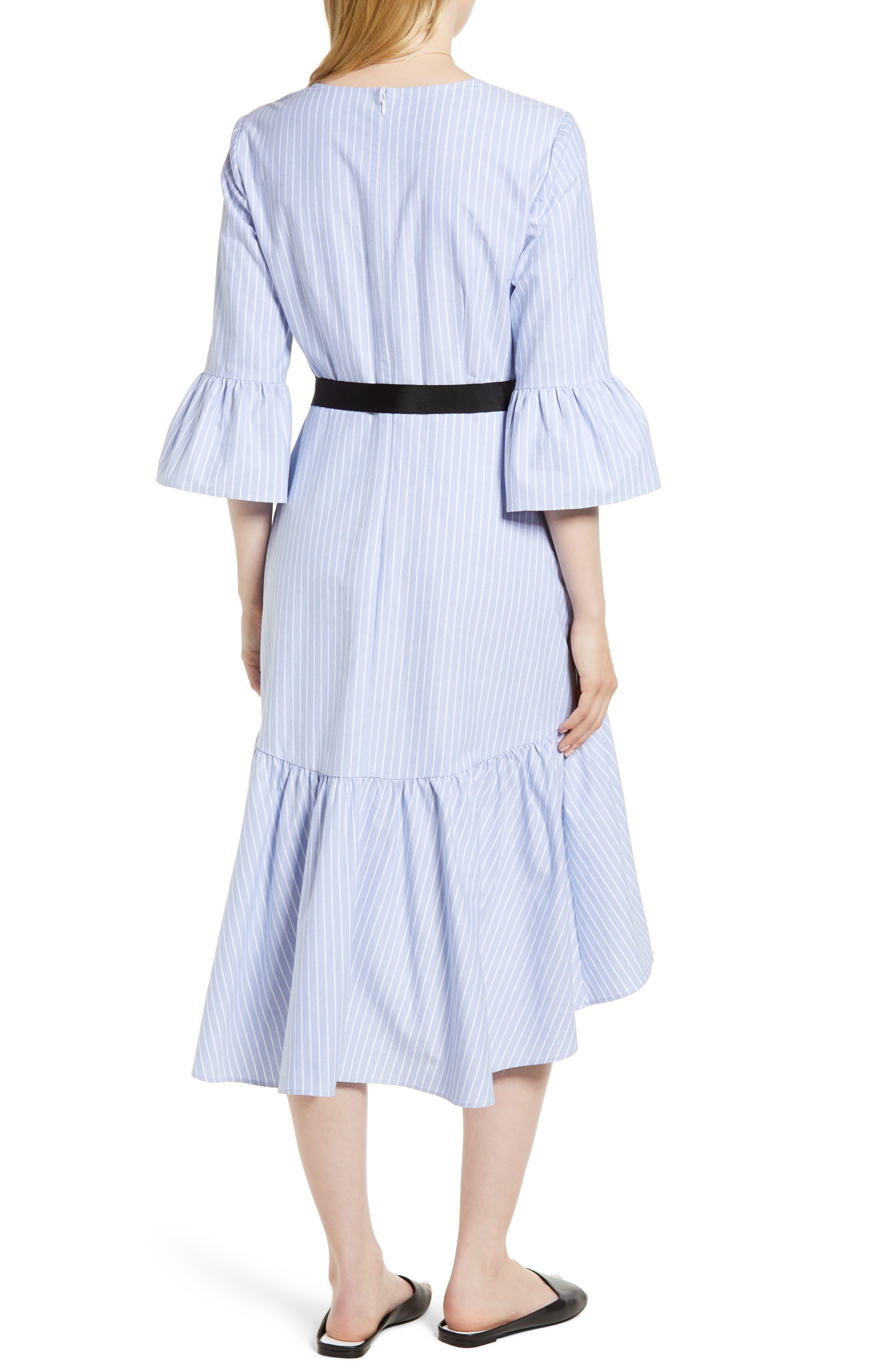 Ruffle Hem Faux Wrap Dress,                             Alternate thumbnail 2, color,                             Blue- White Stripe