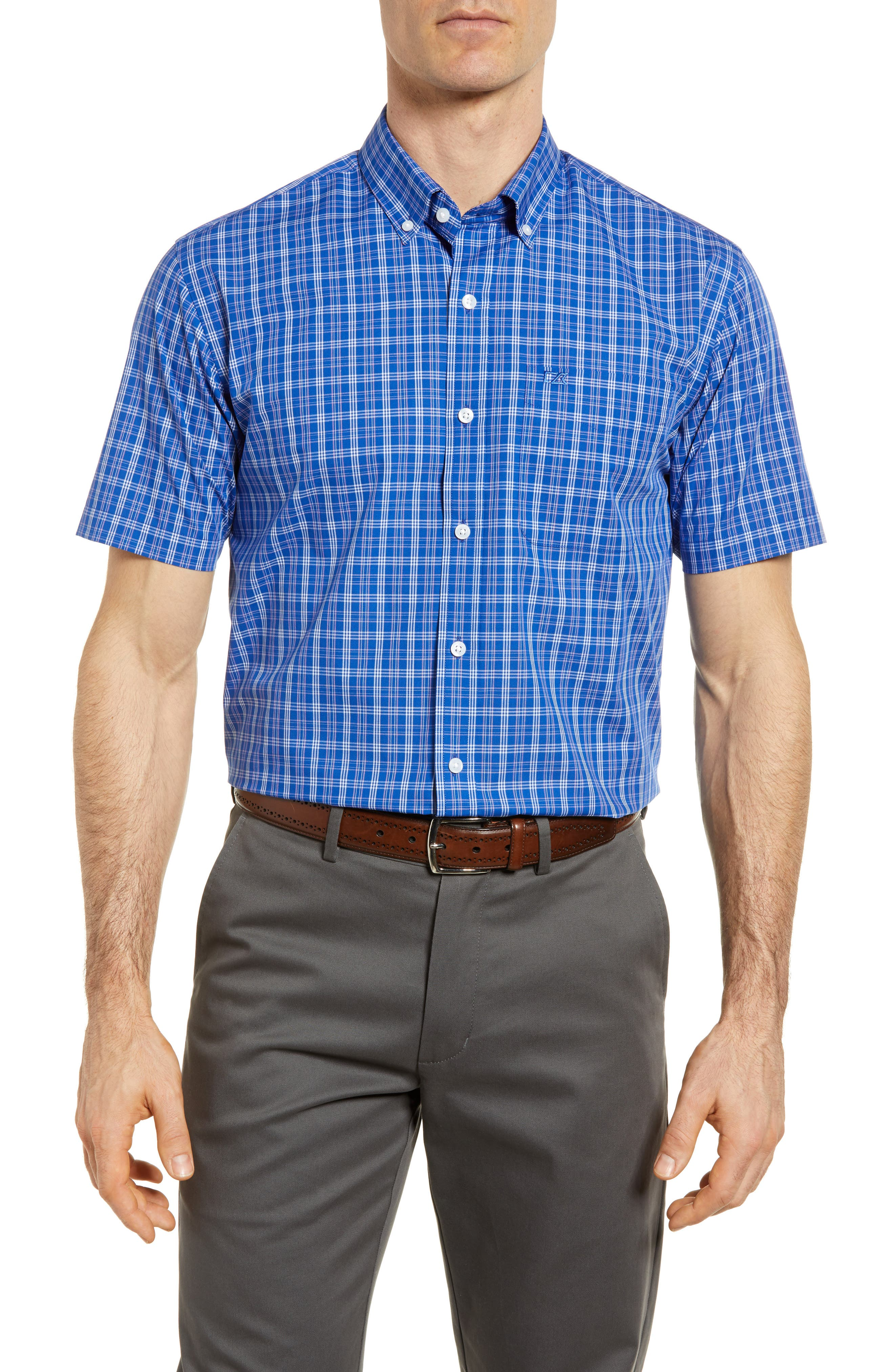 Leo Plaid Easy Care Woven Shirt,                         Main,                         color, Bolt