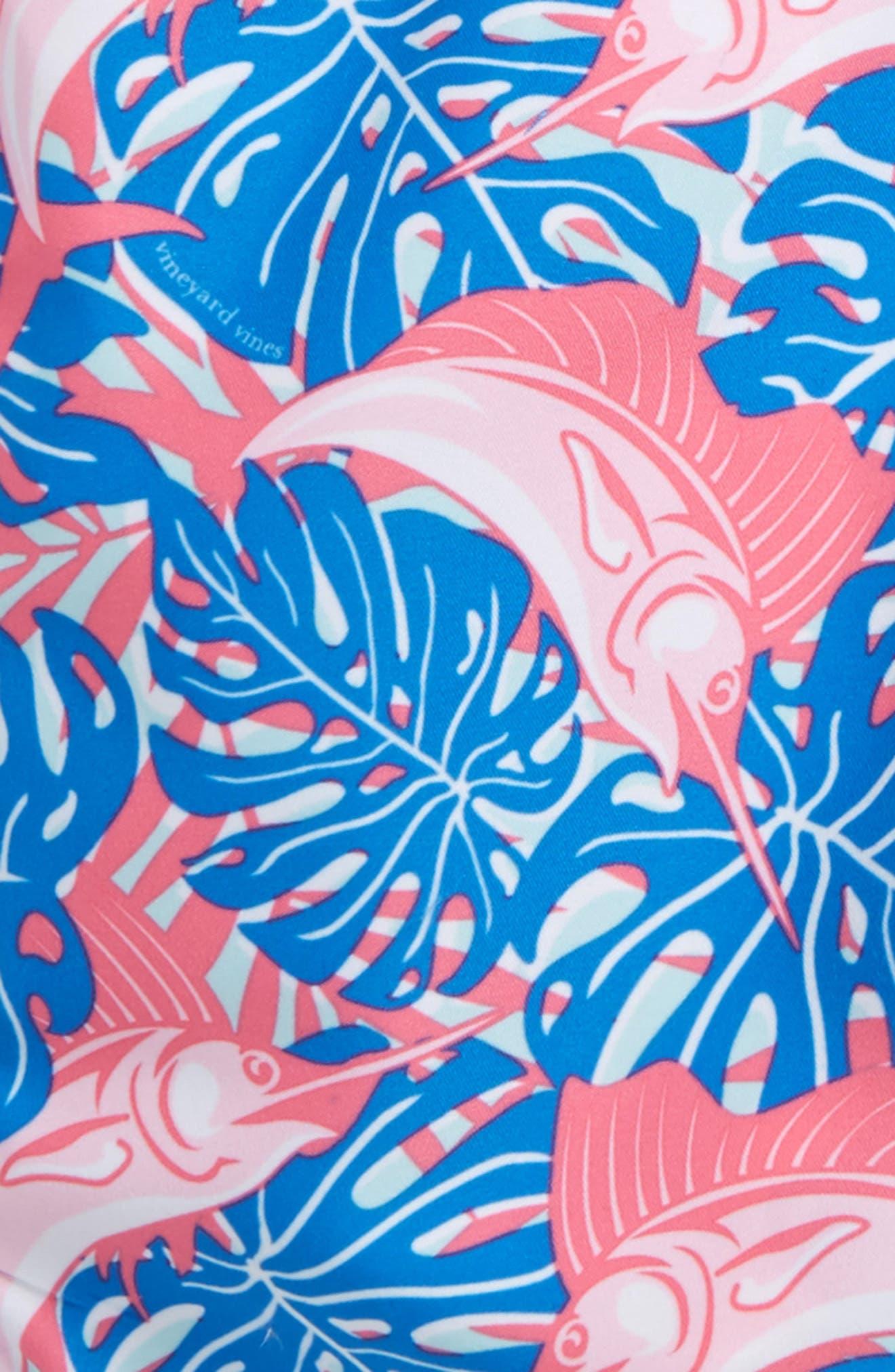 Chappy Sailfish & Leaves Swim Trunks,                             Alternate thumbnail 2, color,                             Azure Blue