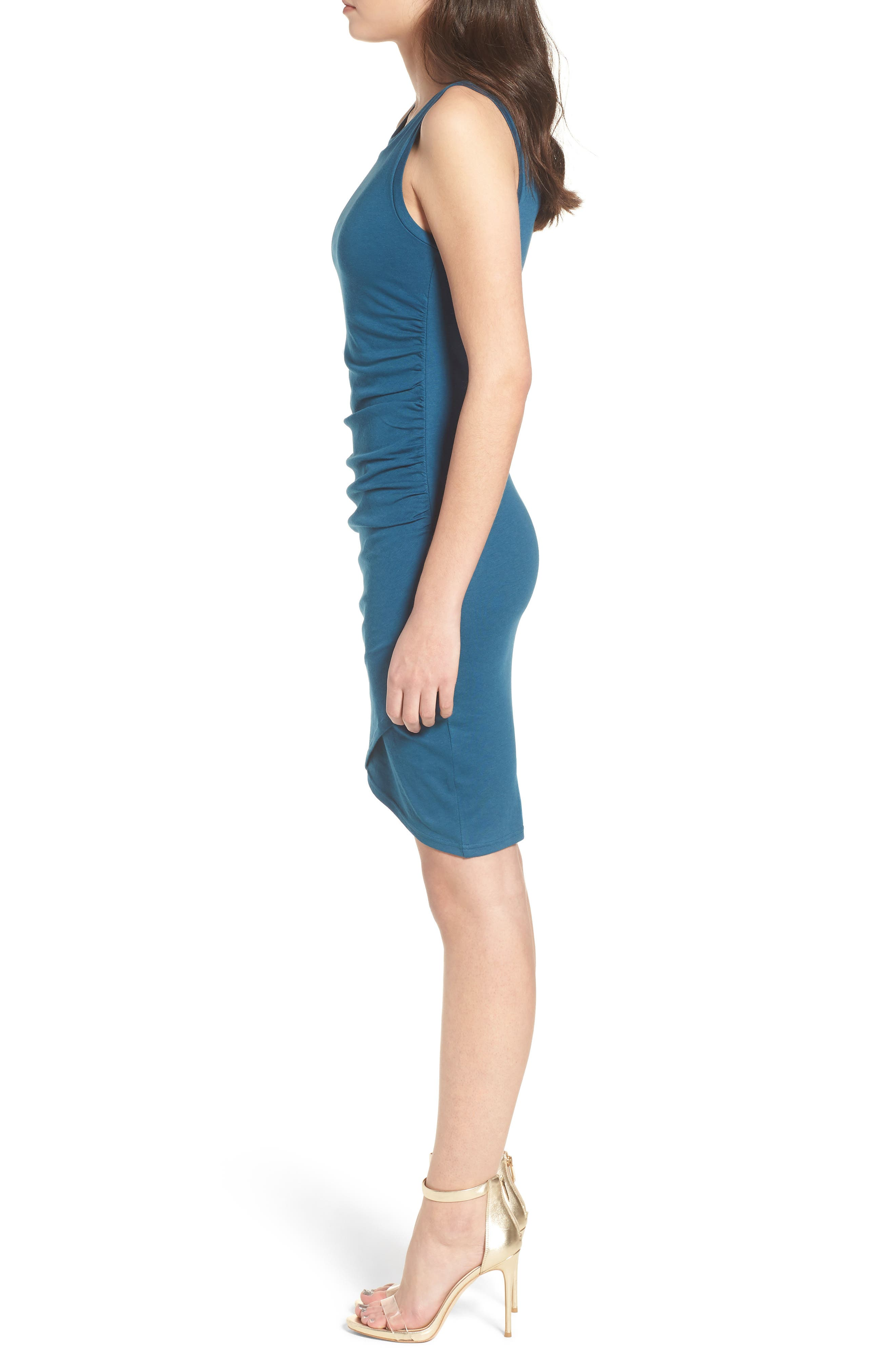 Ruched Body-Con Tank Dress,                             Alternate thumbnail 3, color,                             Teal Seagate