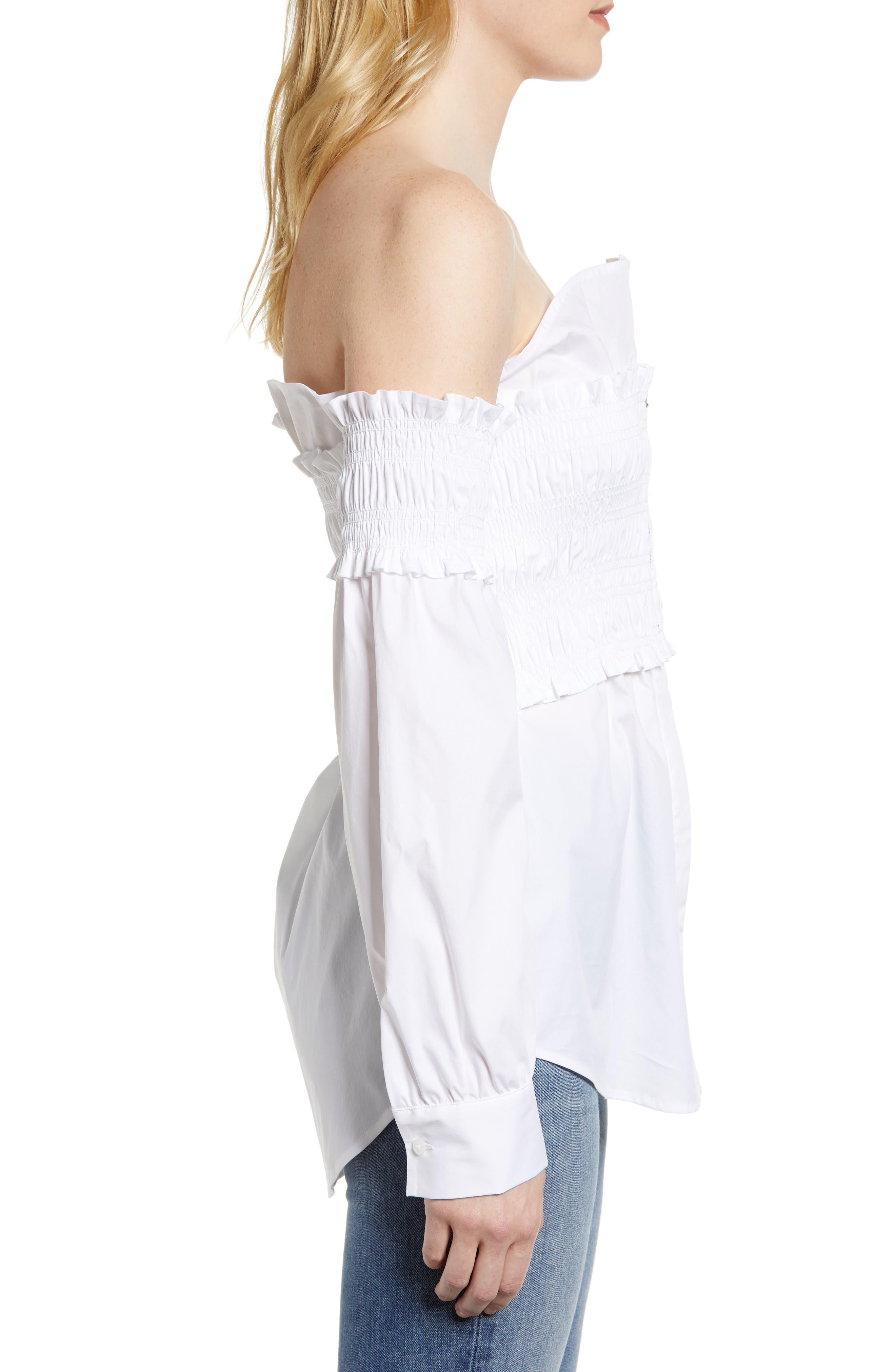 Smocked Corset Shirt,                             Alternate thumbnail 3, color,                             White