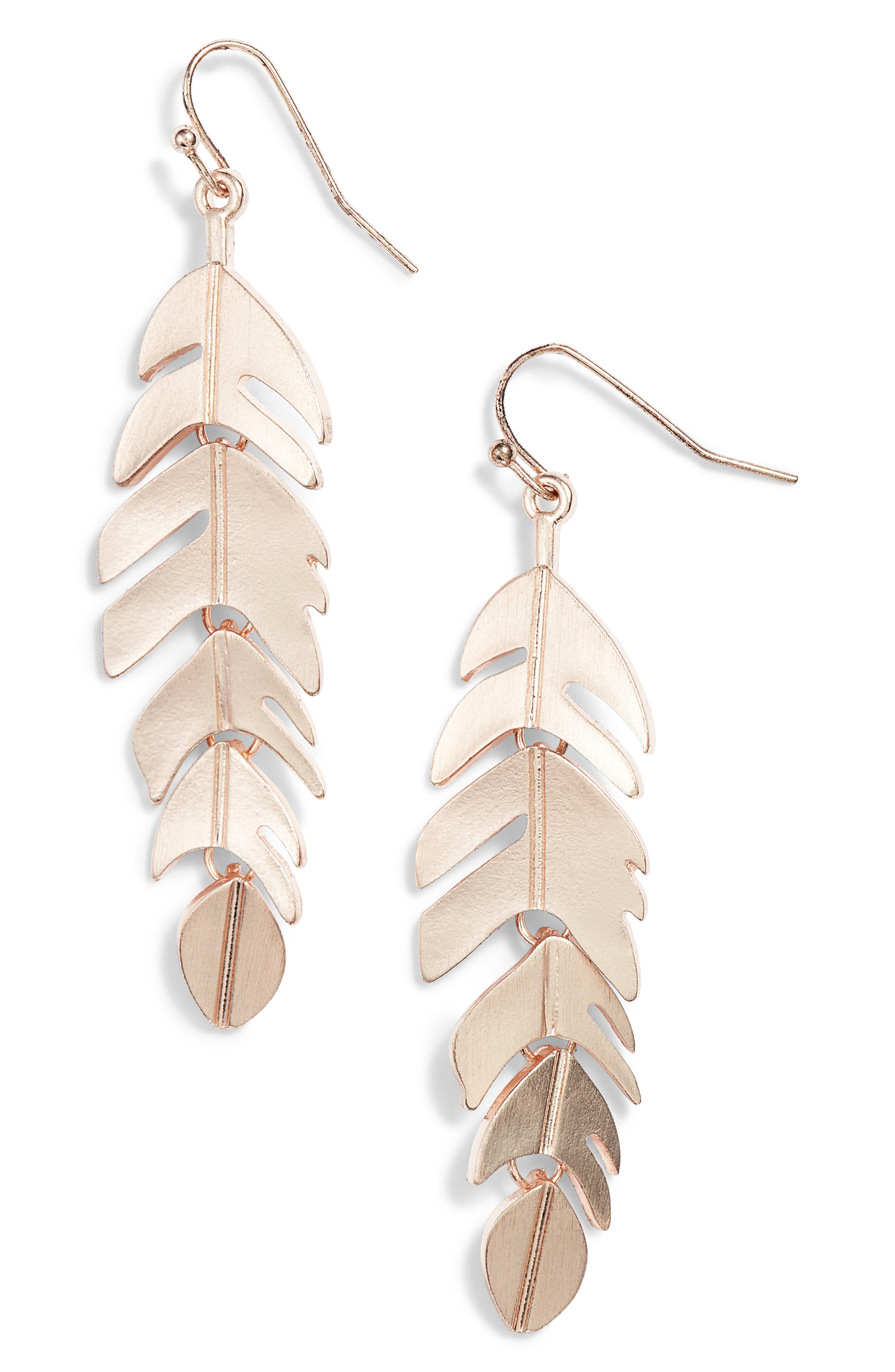 Leaf Drop Earrings,                         Main,                         color, Rose Gold