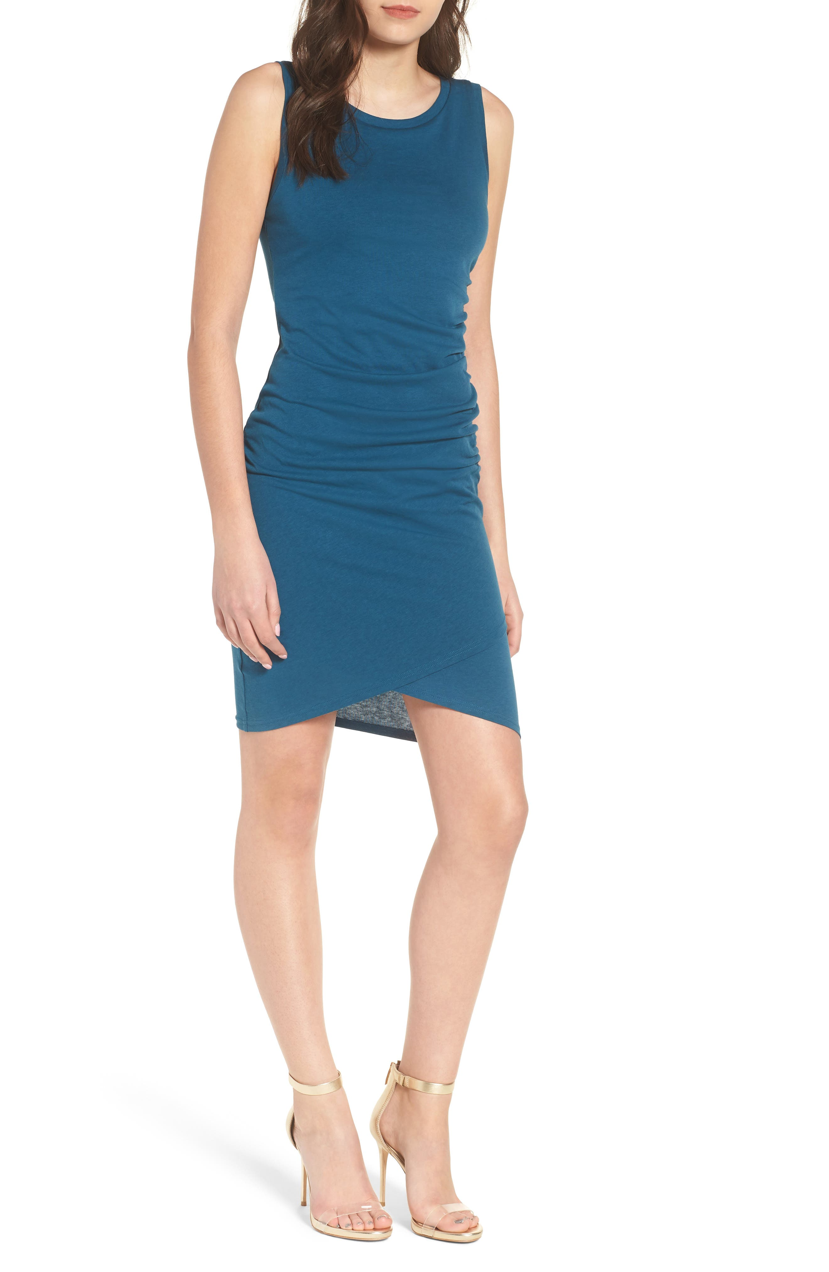 Ruched Body-Con Tank Dress,                         Main,                         color, Teal Seagate