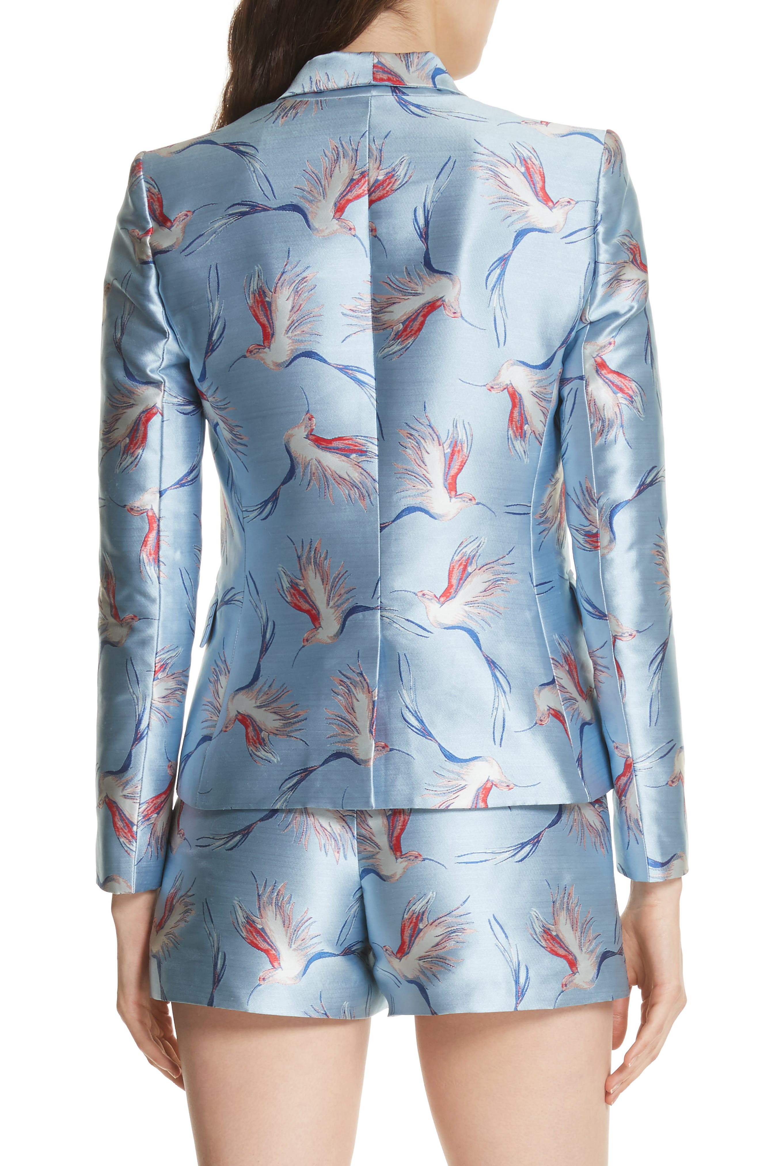 Macey Bird Print Jacket,                             Alternate thumbnail 2, color,                             Dusty Aqua/ Multi