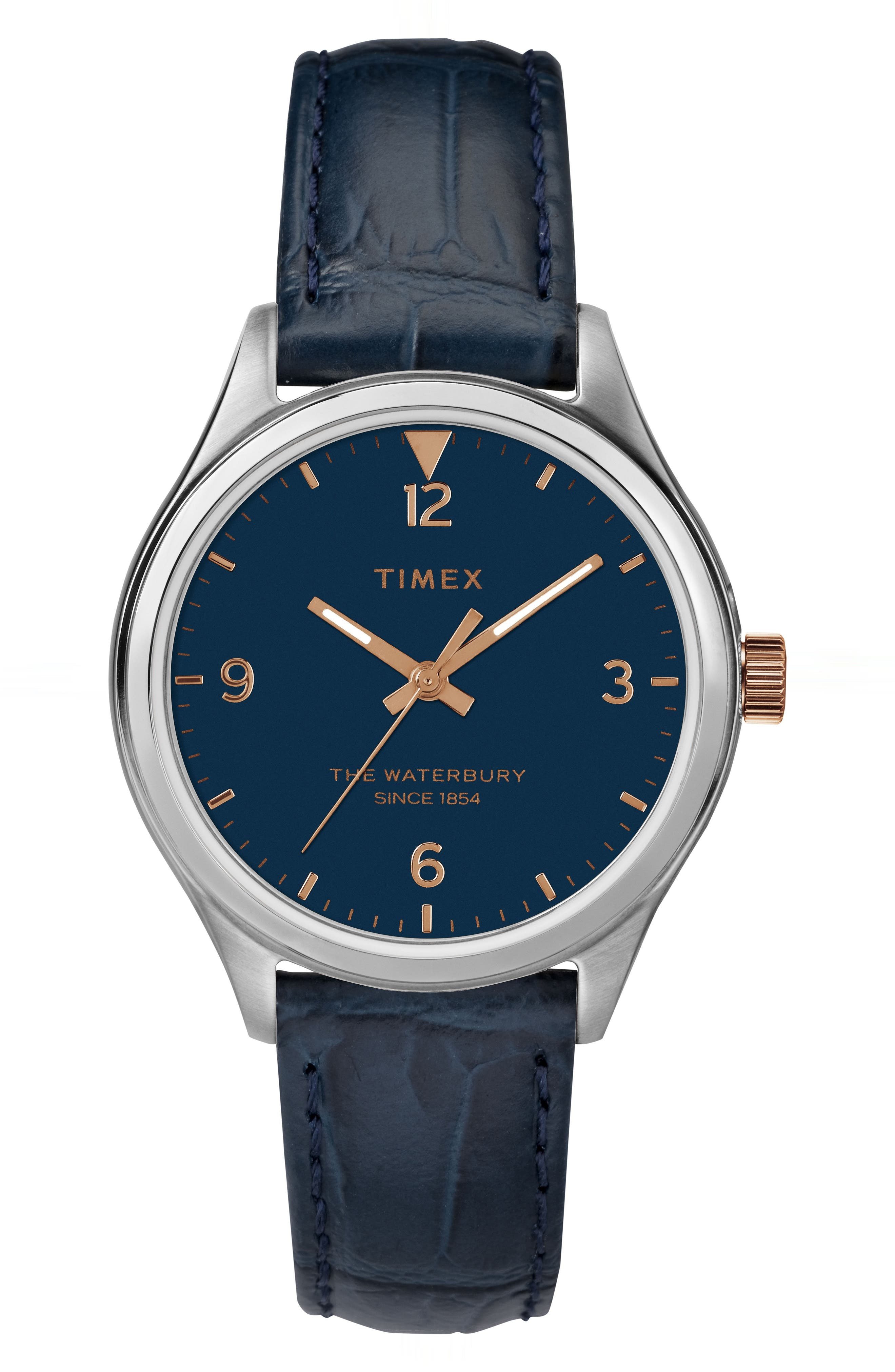 Timex Waterbury Leather Strap Watch, 34mm,                             Main thumbnail 1, color,                             Navy/ Silver